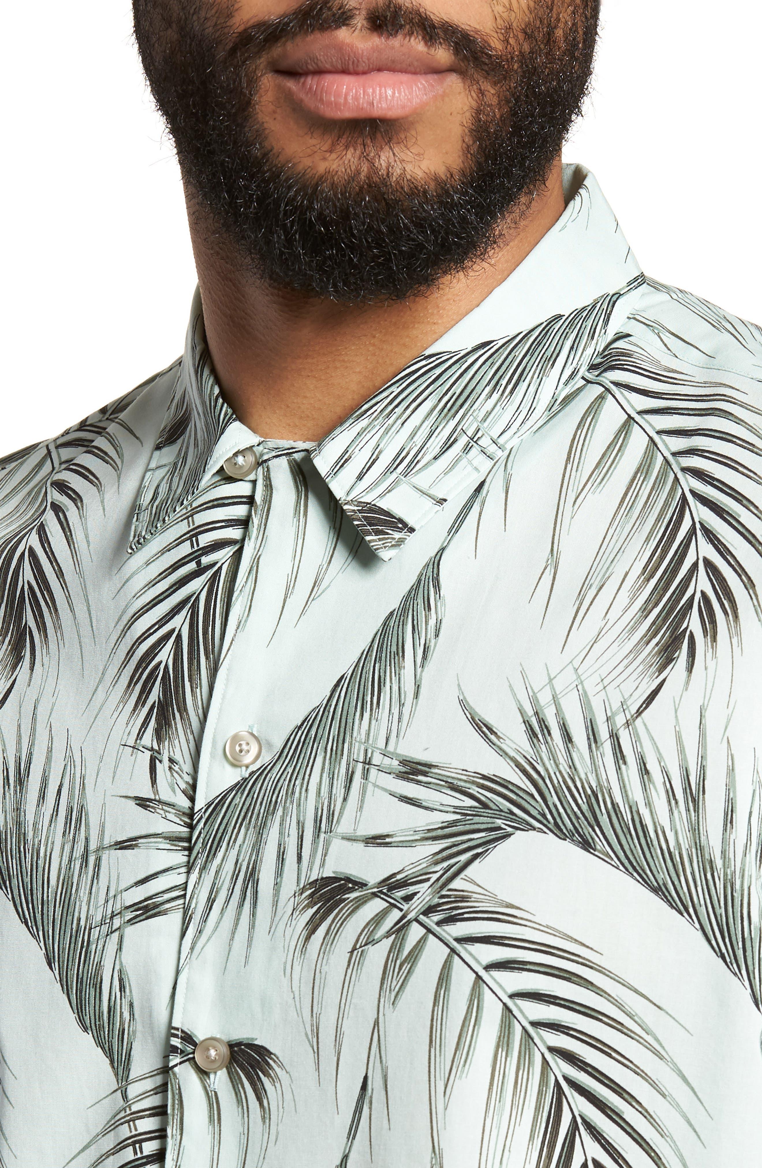 Slim Fit Short Sleeve Print Camp Shirt,                             Alternate thumbnail 2, color,                             Green Screen Palms
