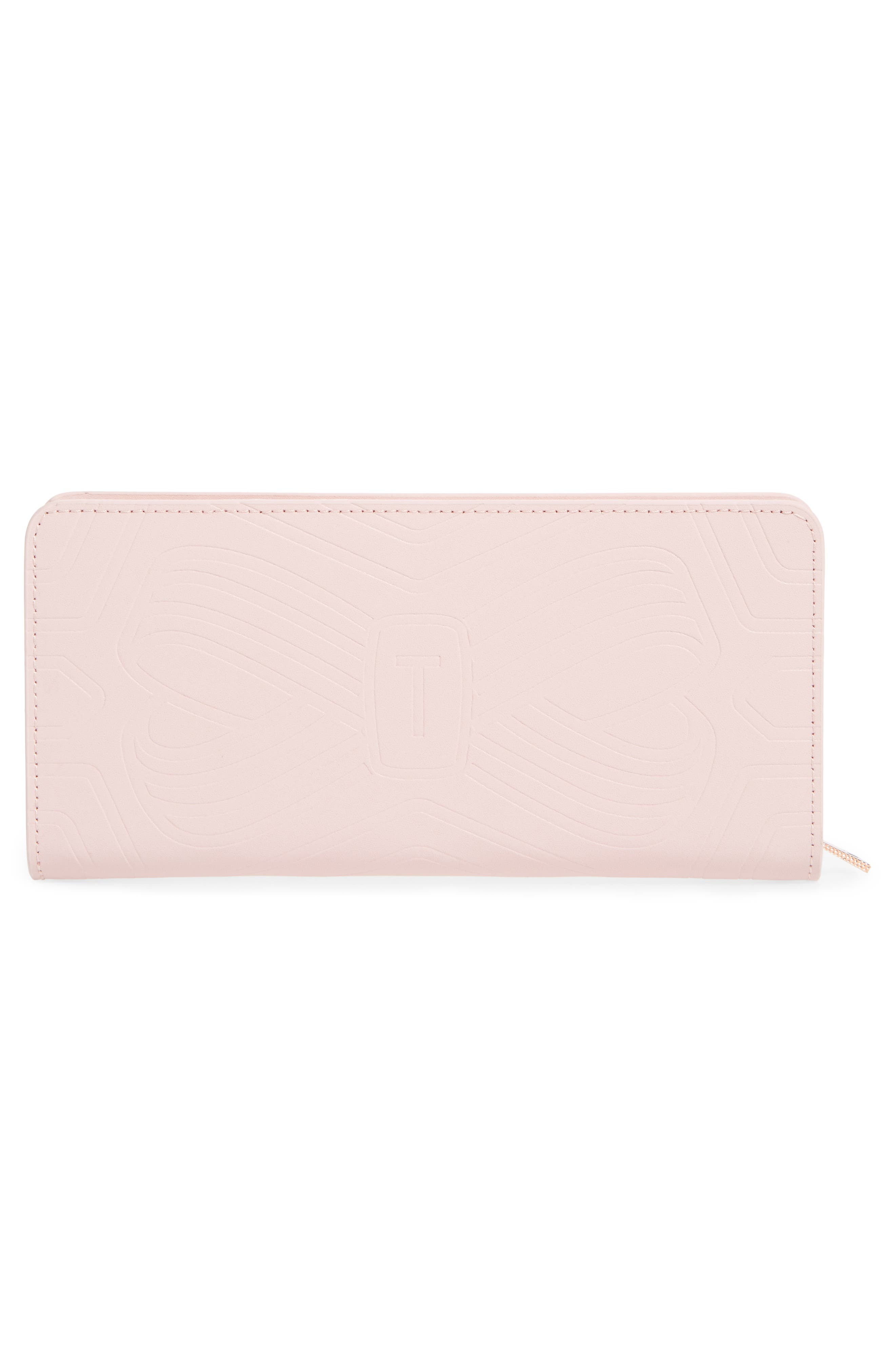 Mellvna Embossed Bow Leather Matinée Wallet,                             Alternate thumbnail 3, color,                             Light Pink