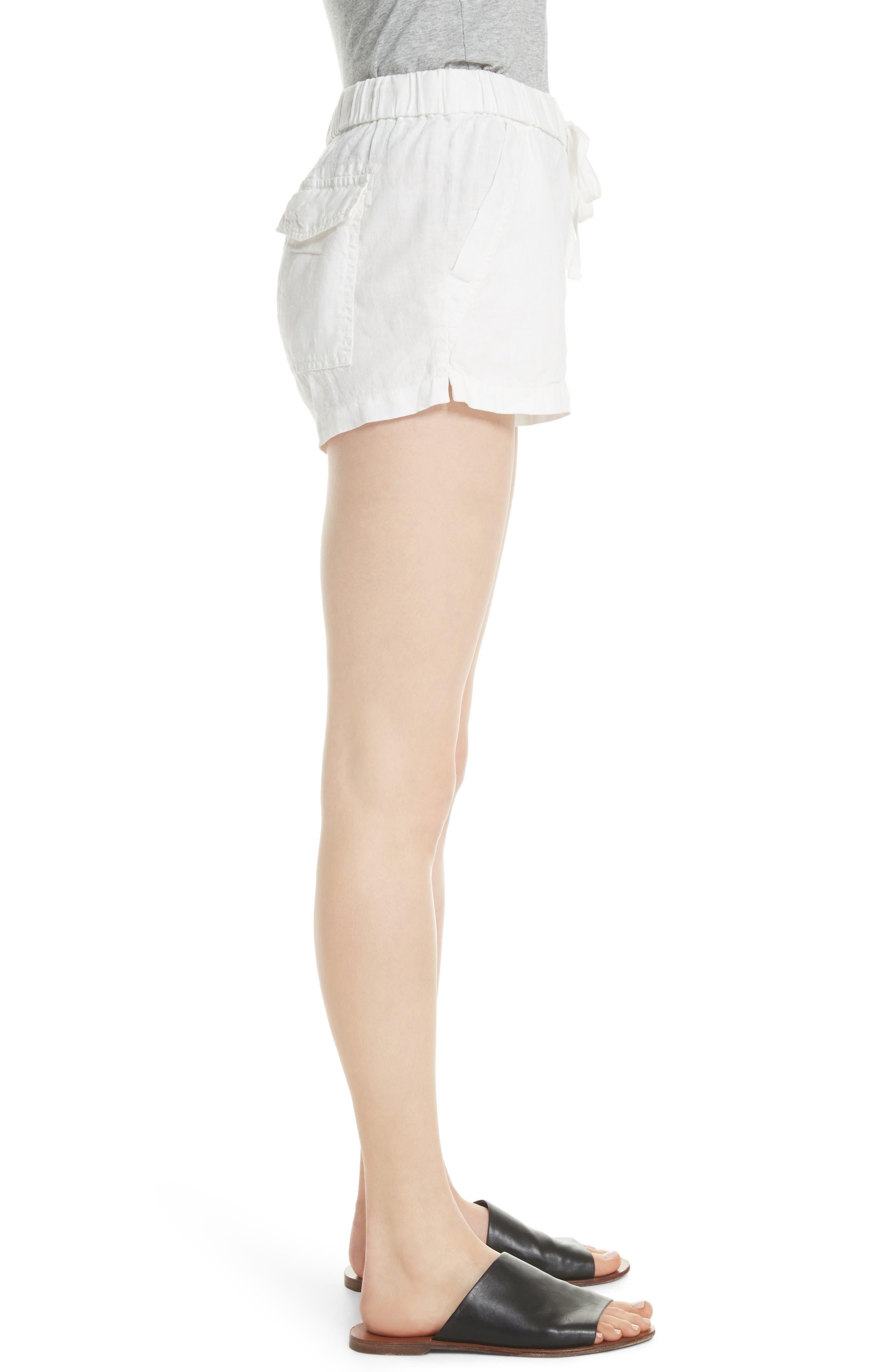 Fosette Linen Drawstring Shorts,                             Alternate thumbnail 3, color,                             Porcelain