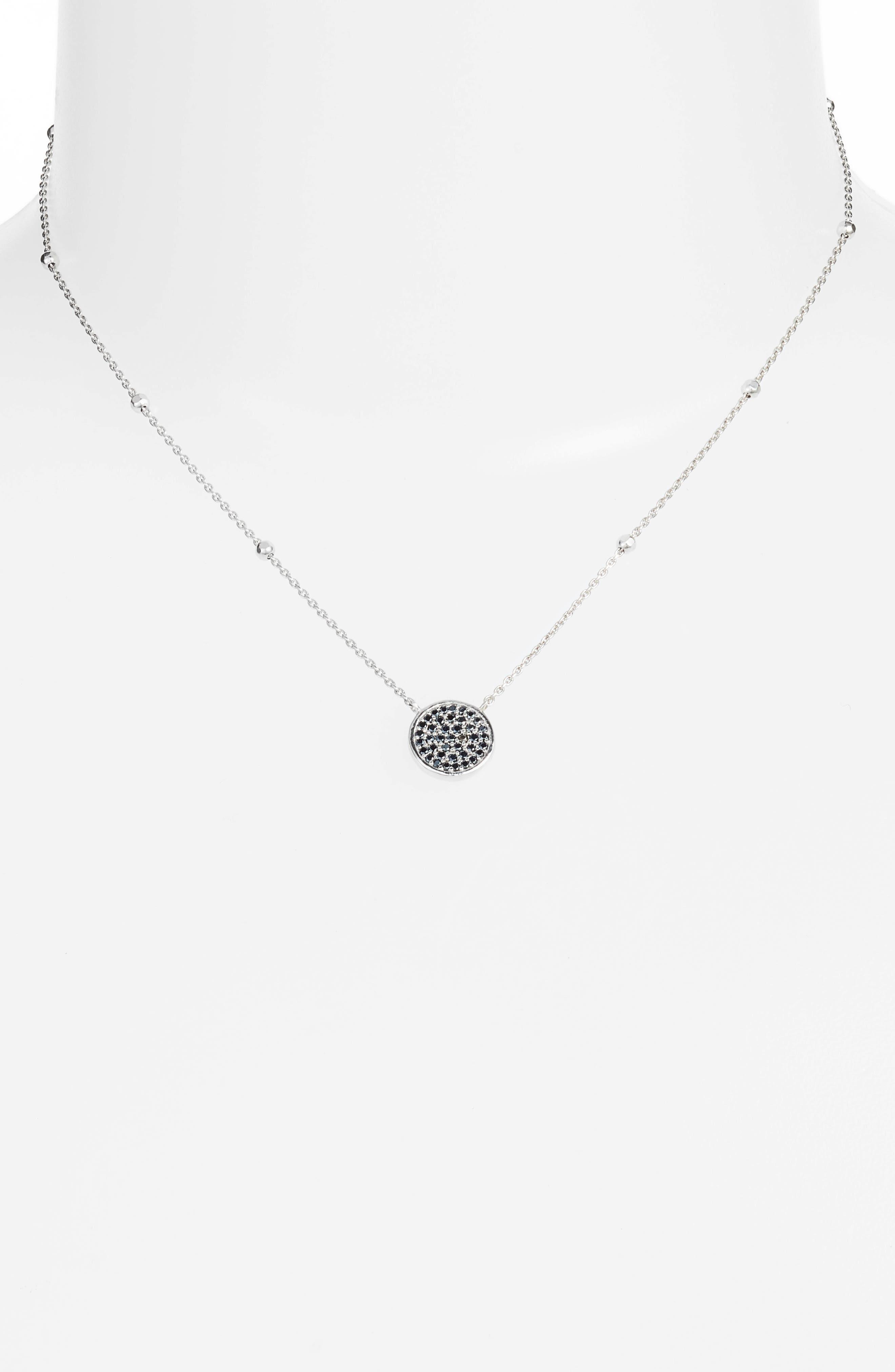 Round Pavé Pendant Necklace,                             Alternate thumbnail 2, color,                             Silver/ Black