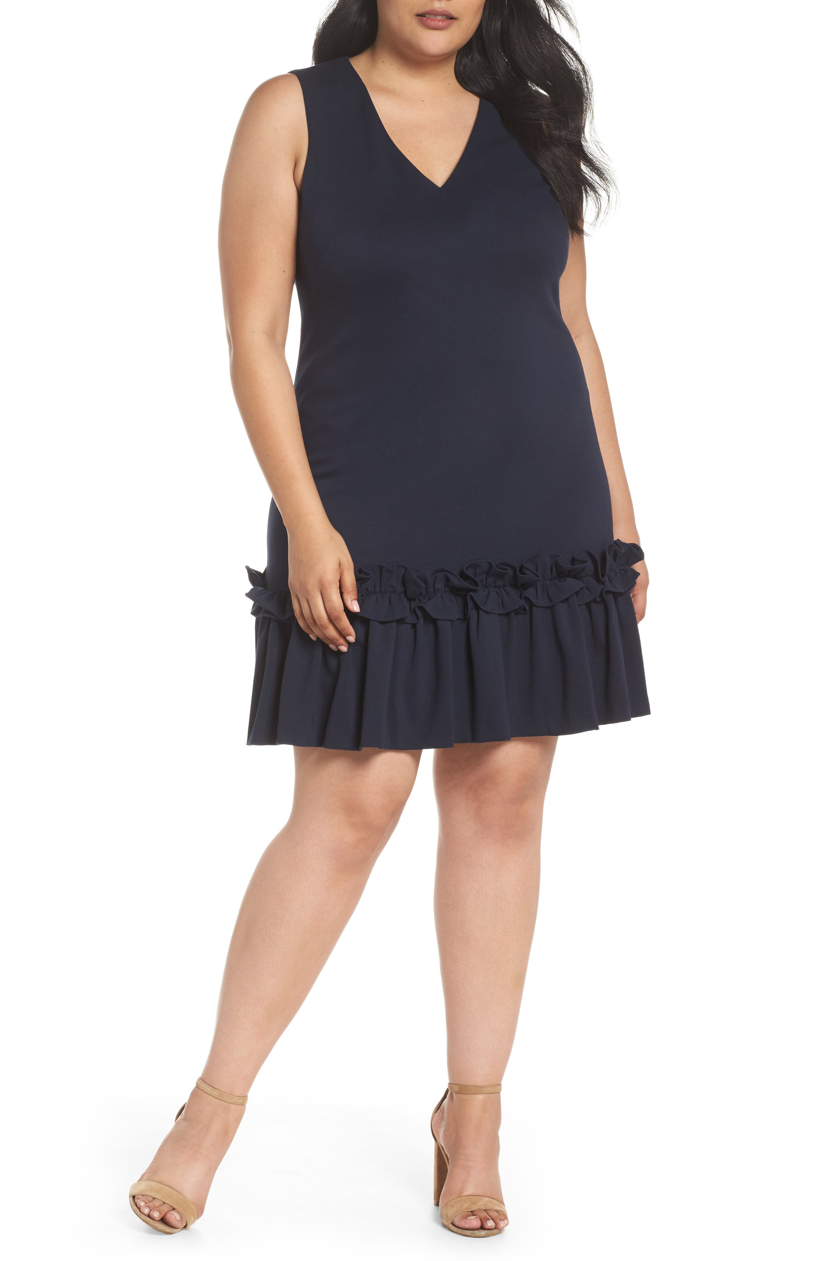 Ruffle Hem Sheath Dress,                         Main,                         color, Navy Sapphire