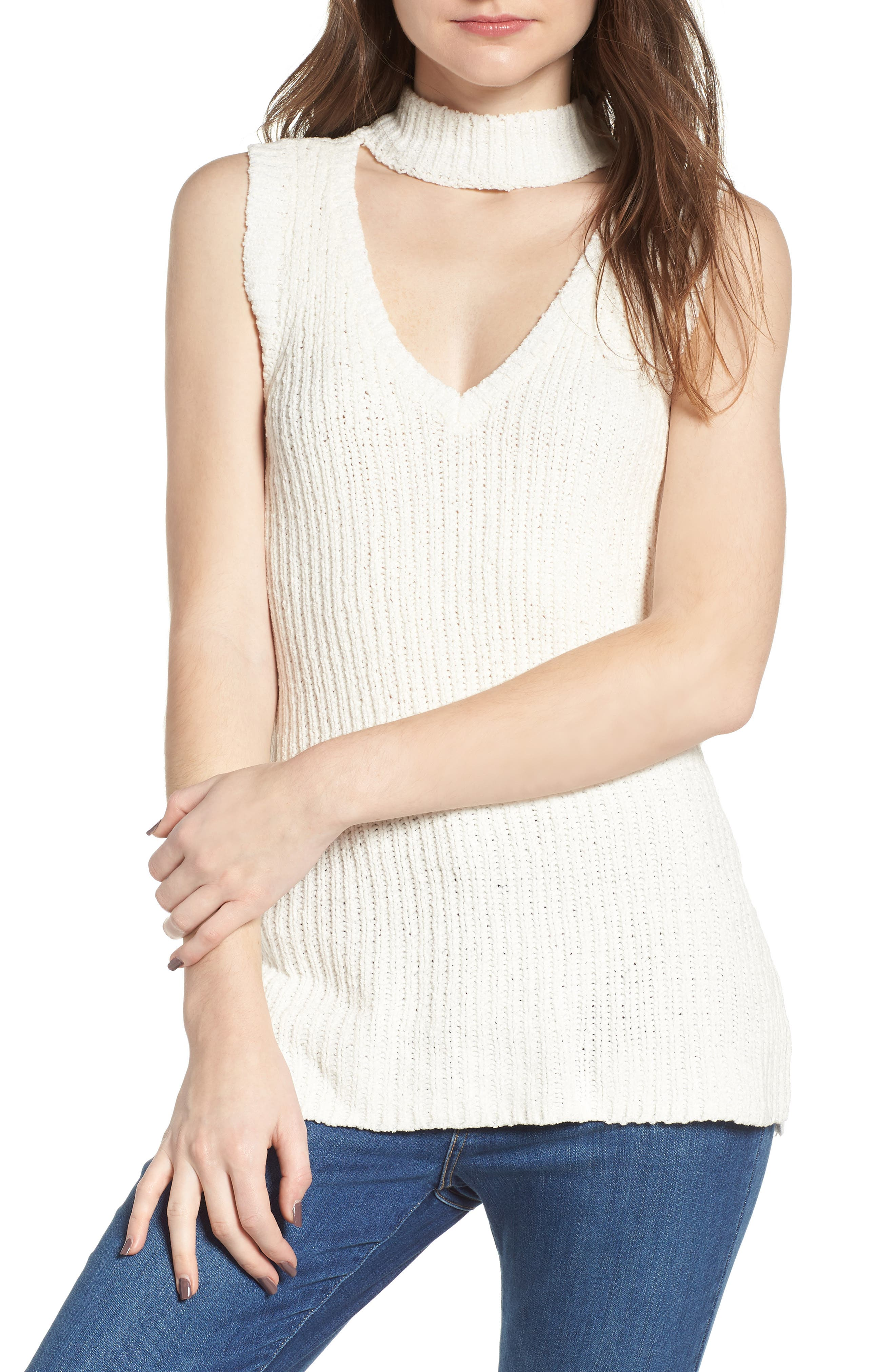 Camdon Sleeveless Sweater,                             Main thumbnail 1, color,                             Ivory