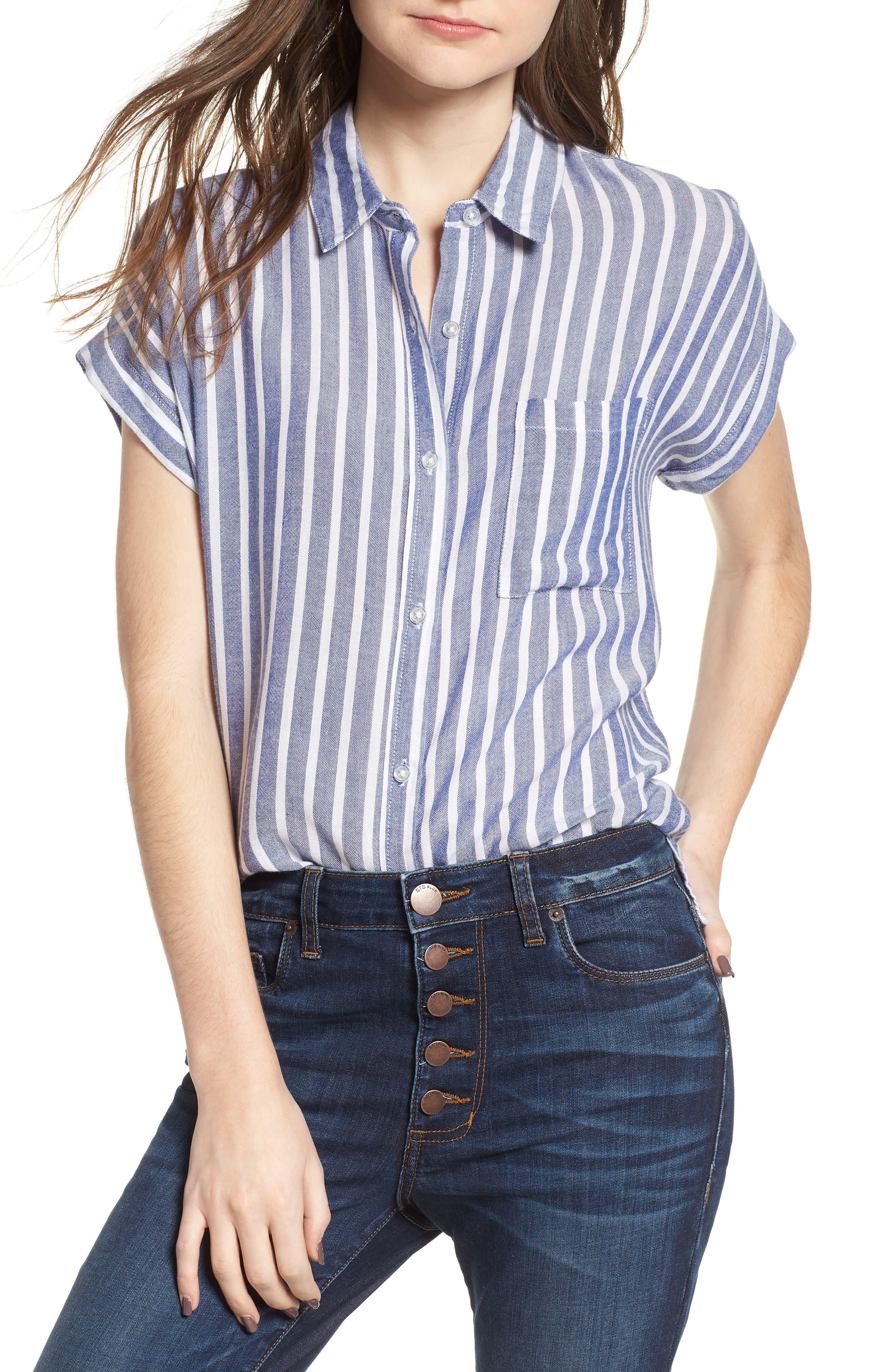Benji Stripe Shirt,                         Main,                         color, Blue
