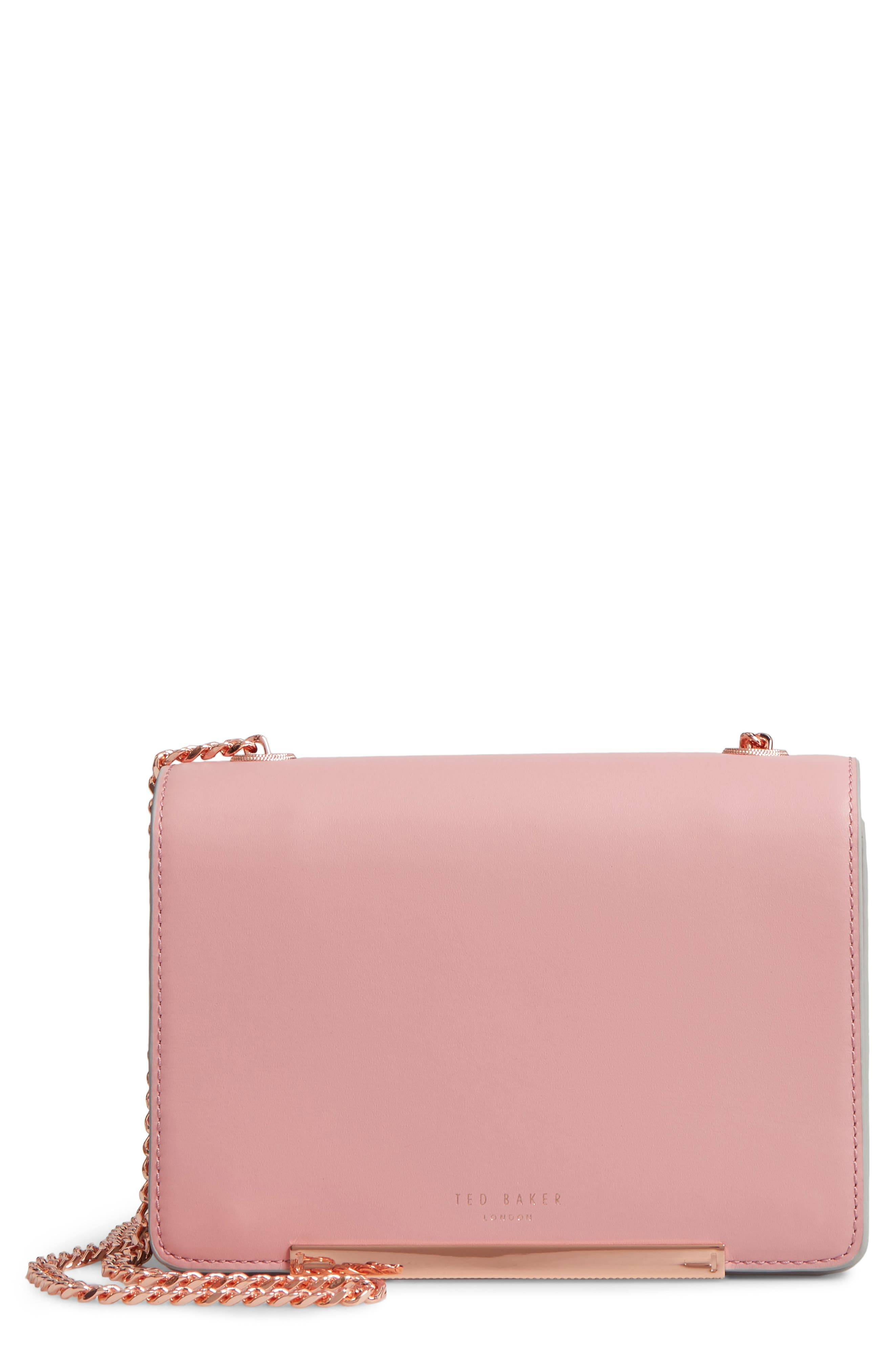Earie Leather Crossbody Bag,                         Main,                         color, Dusky Pink