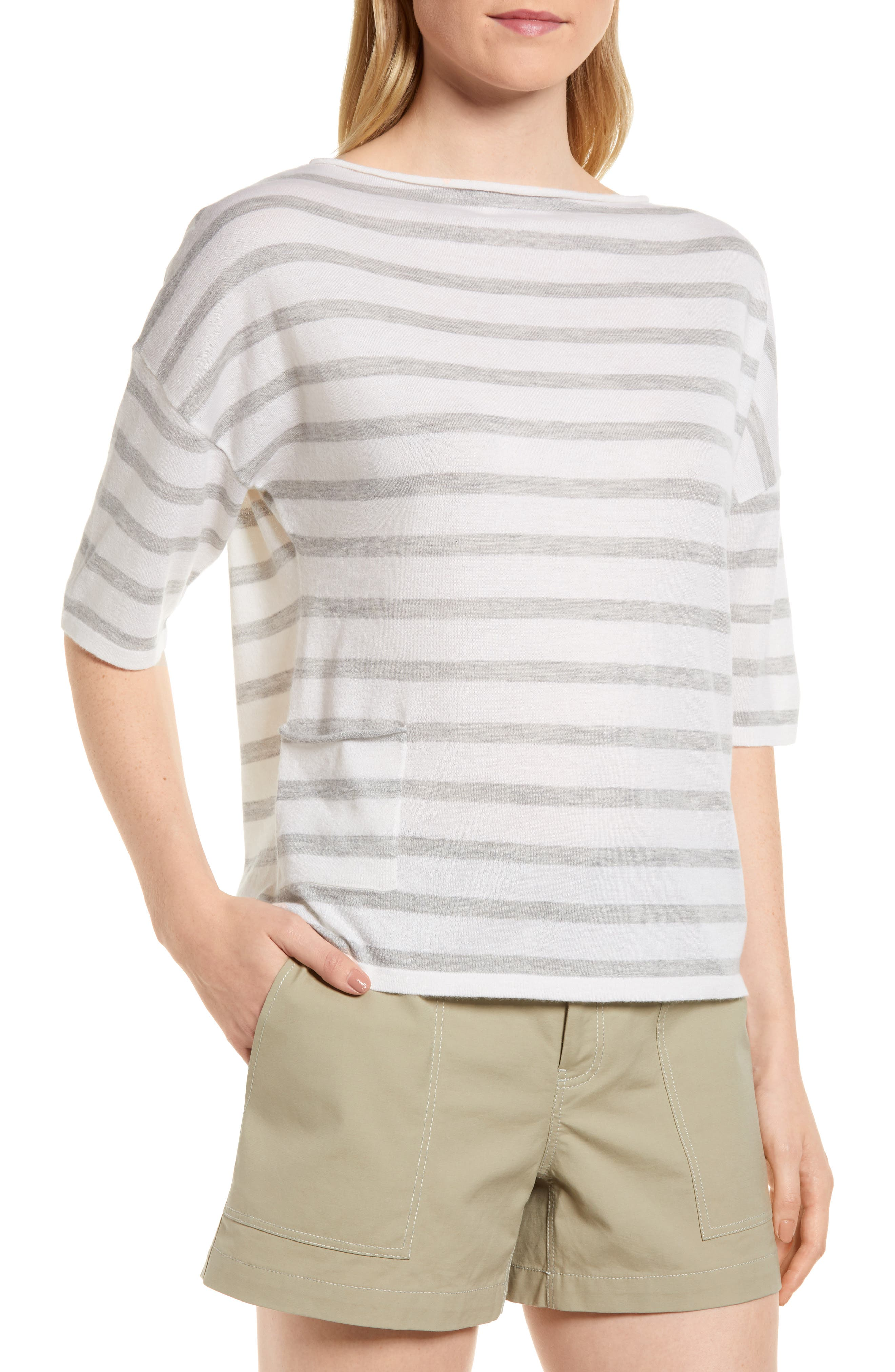 Stripe Cashmere Sweater,                             Main thumbnail 1, color,                             Ivory- Grey Heather Stripe