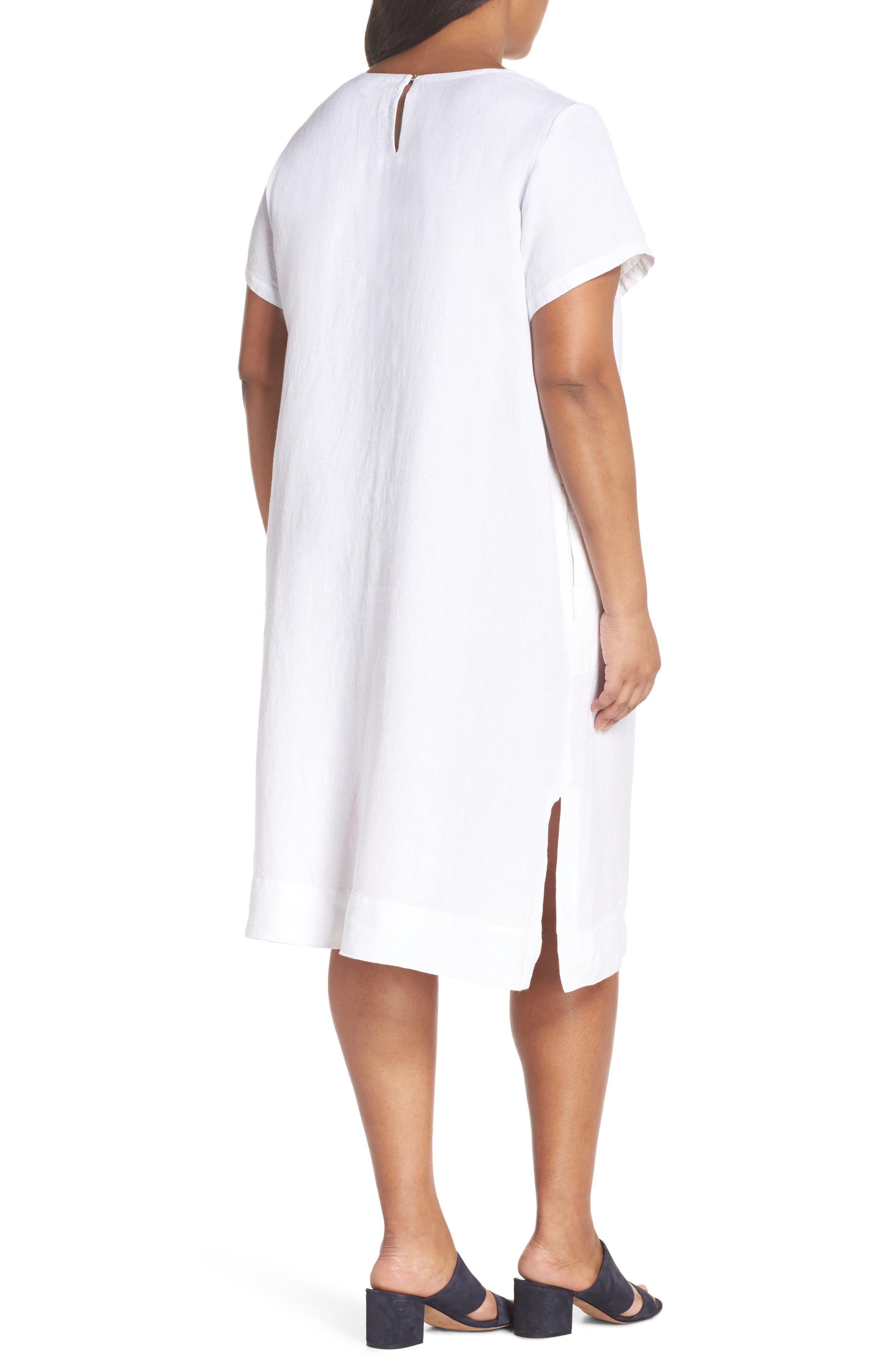 Linen Blend Shift Dress,                             Alternate thumbnail 2, color,                             White