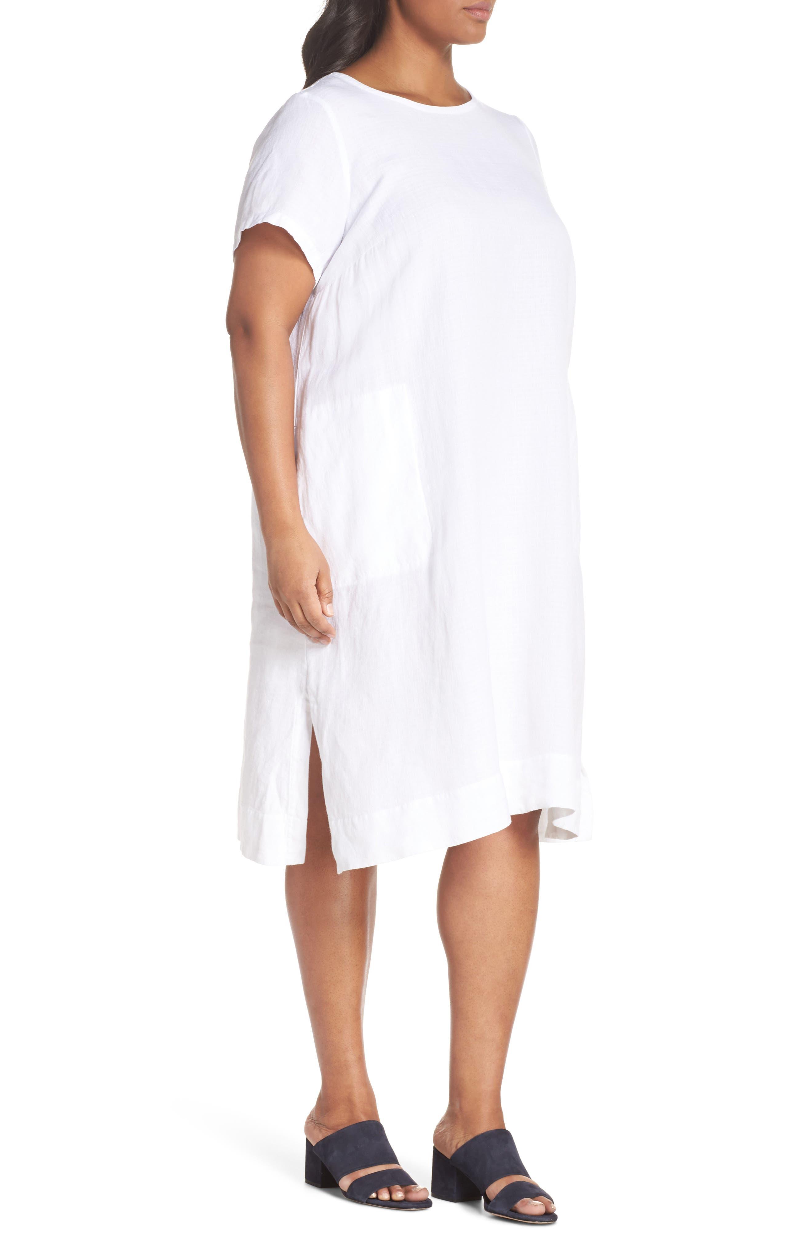 Linen Blend Shift Dress,                             Alternate thumbnail 3, color,                             White