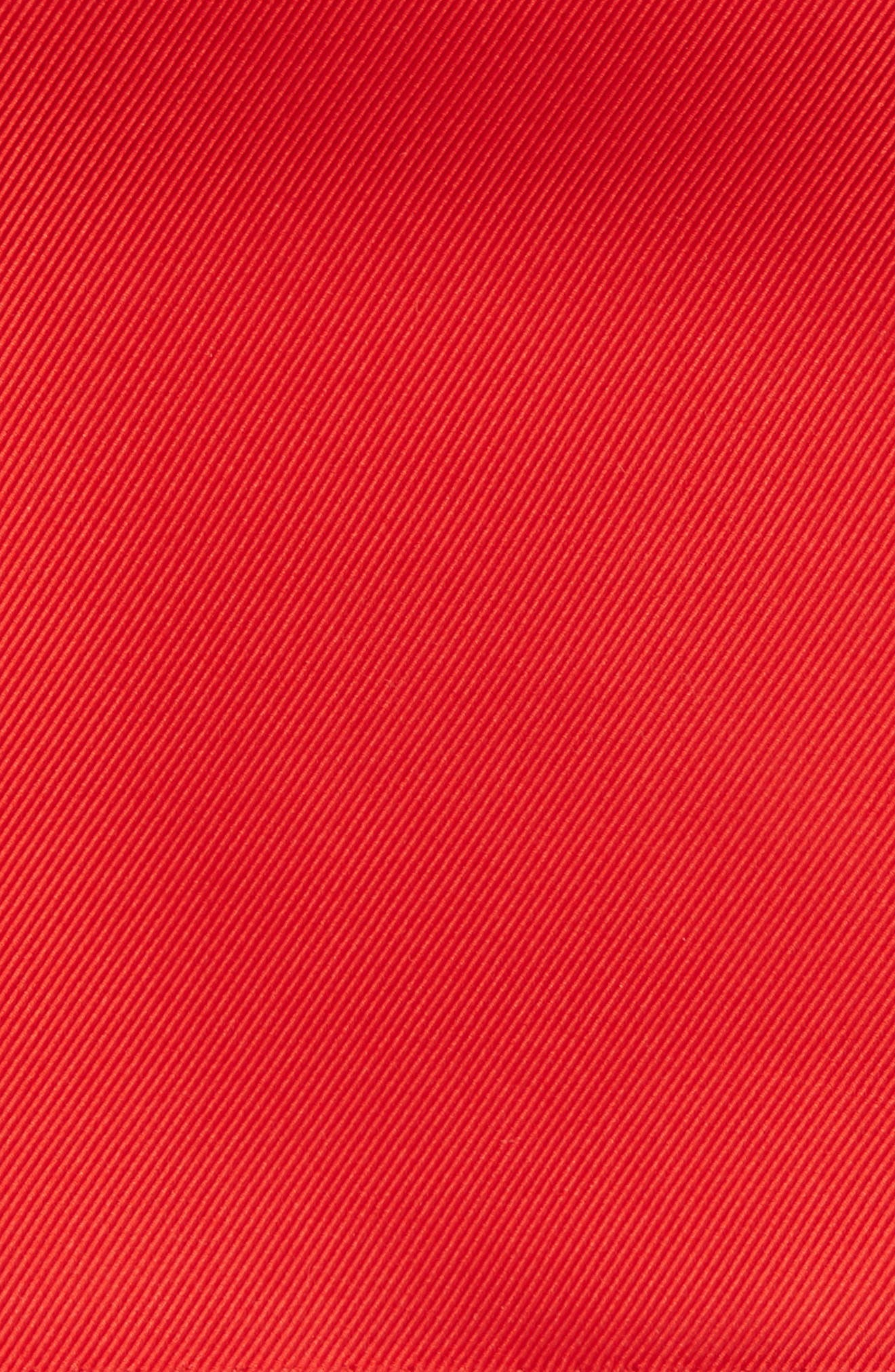 King Twill Silk Pocket Square,                             Alternate thumbnail 3, color,                             Red