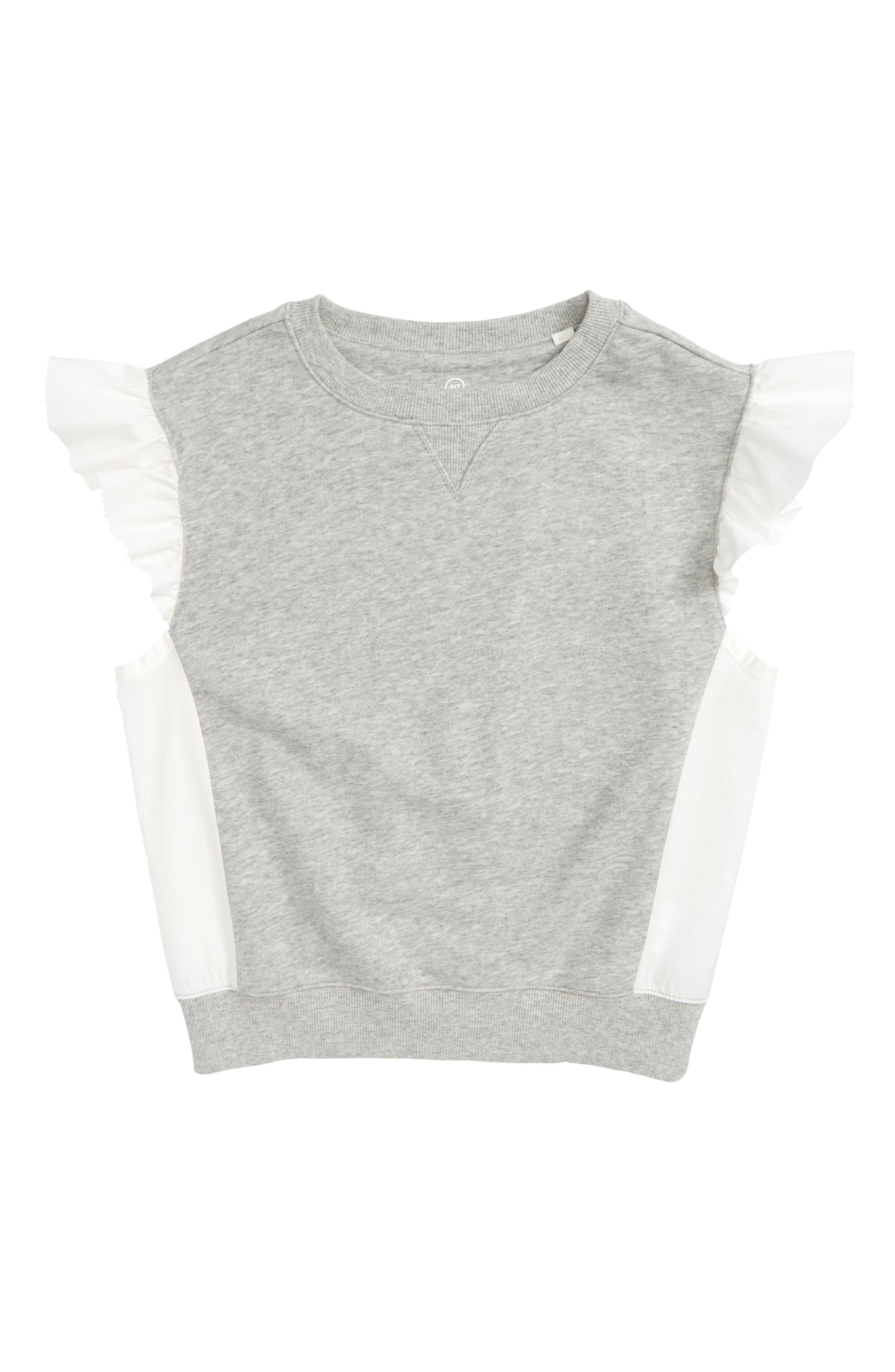 Flutter Sleeve Top,                             Main thumbnail 1, color,                             Heather Grey