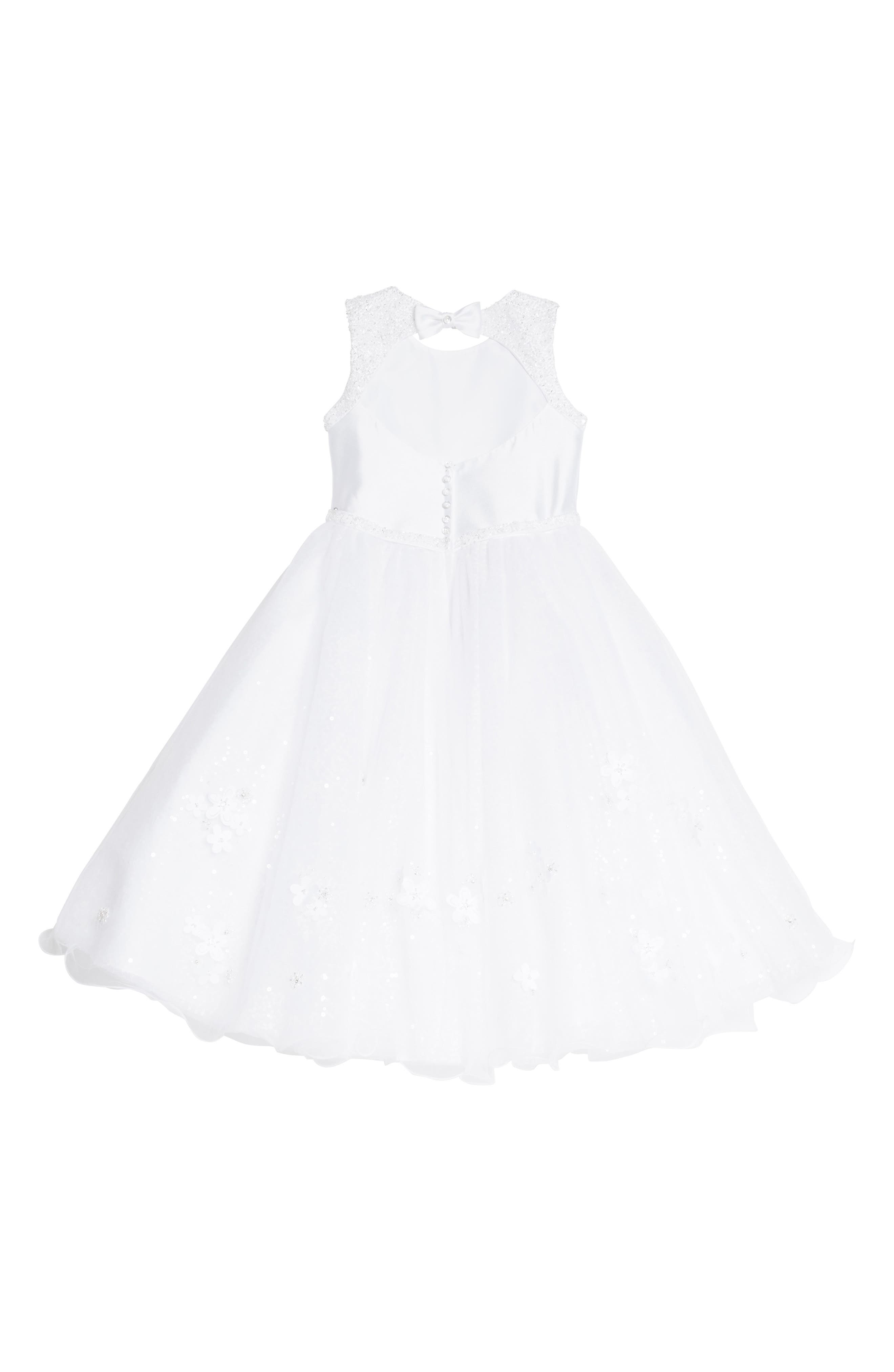 Beaded Tulle First Communion Dress,                             Alternate thumbnail 2, color,                             White