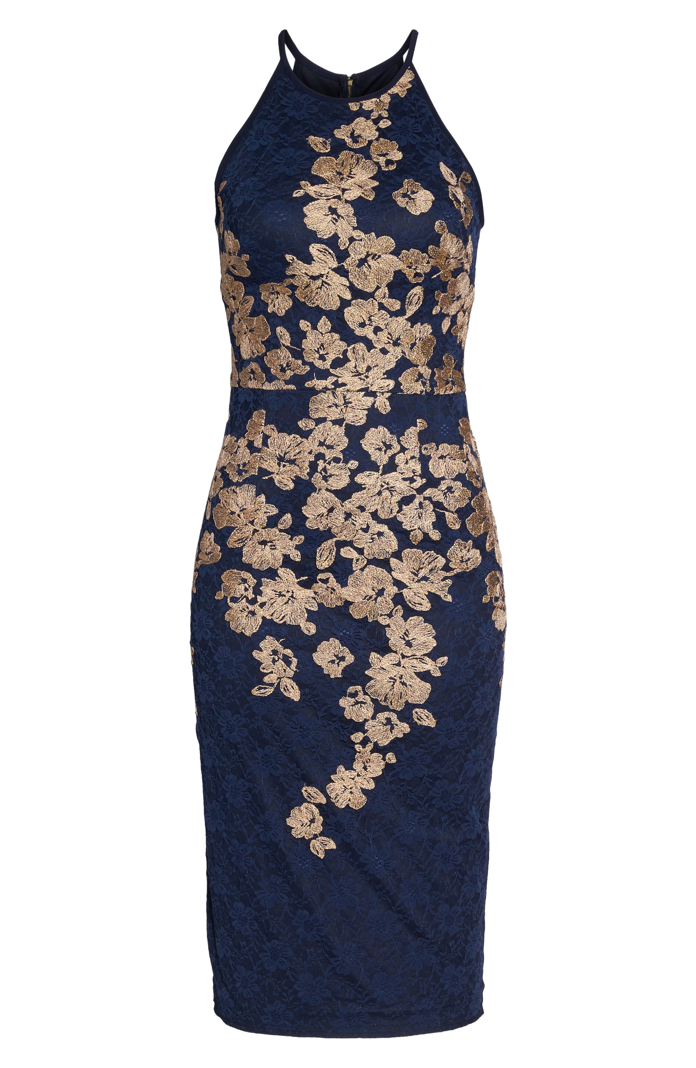 Embroidered Halter Midi Dress,                             Alternate thumbnail 6, color,                             Navy/ Gold