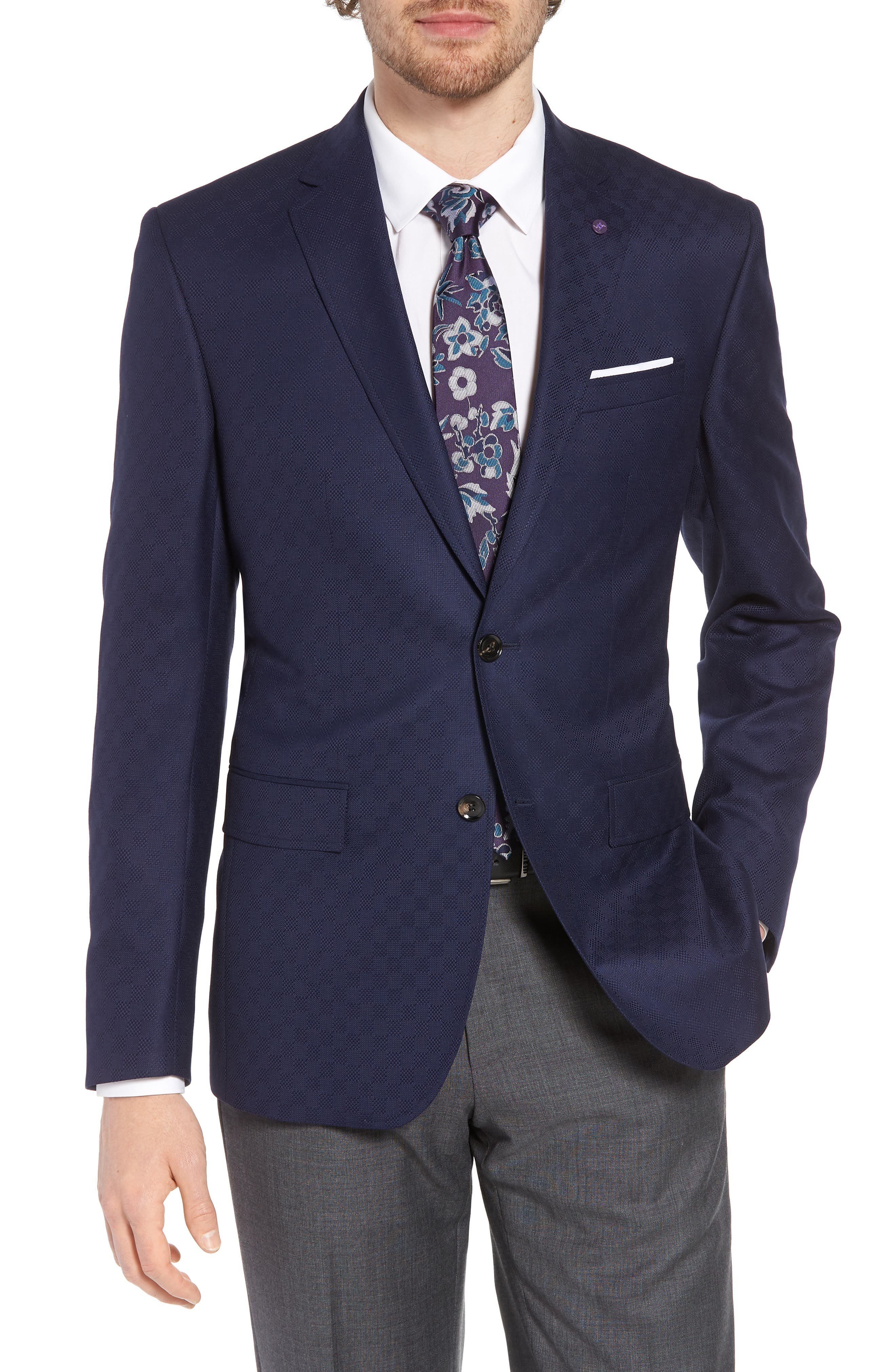 Jay Trim Fit Check Wool Sport Coat,                         Main,                         color, Navy