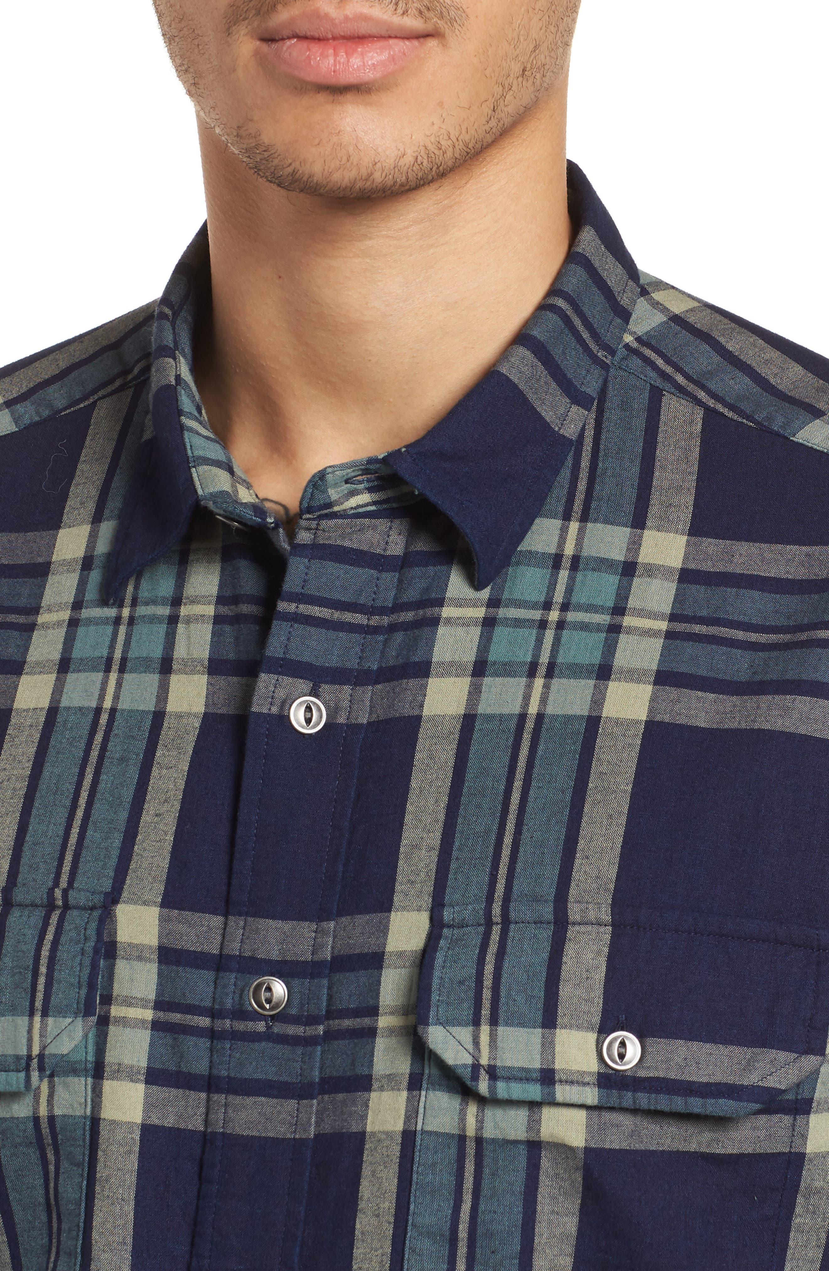 Thomas Kay Double Face Shirt,                             Alternate thumbnail 4, color,                             Indigo Plaid