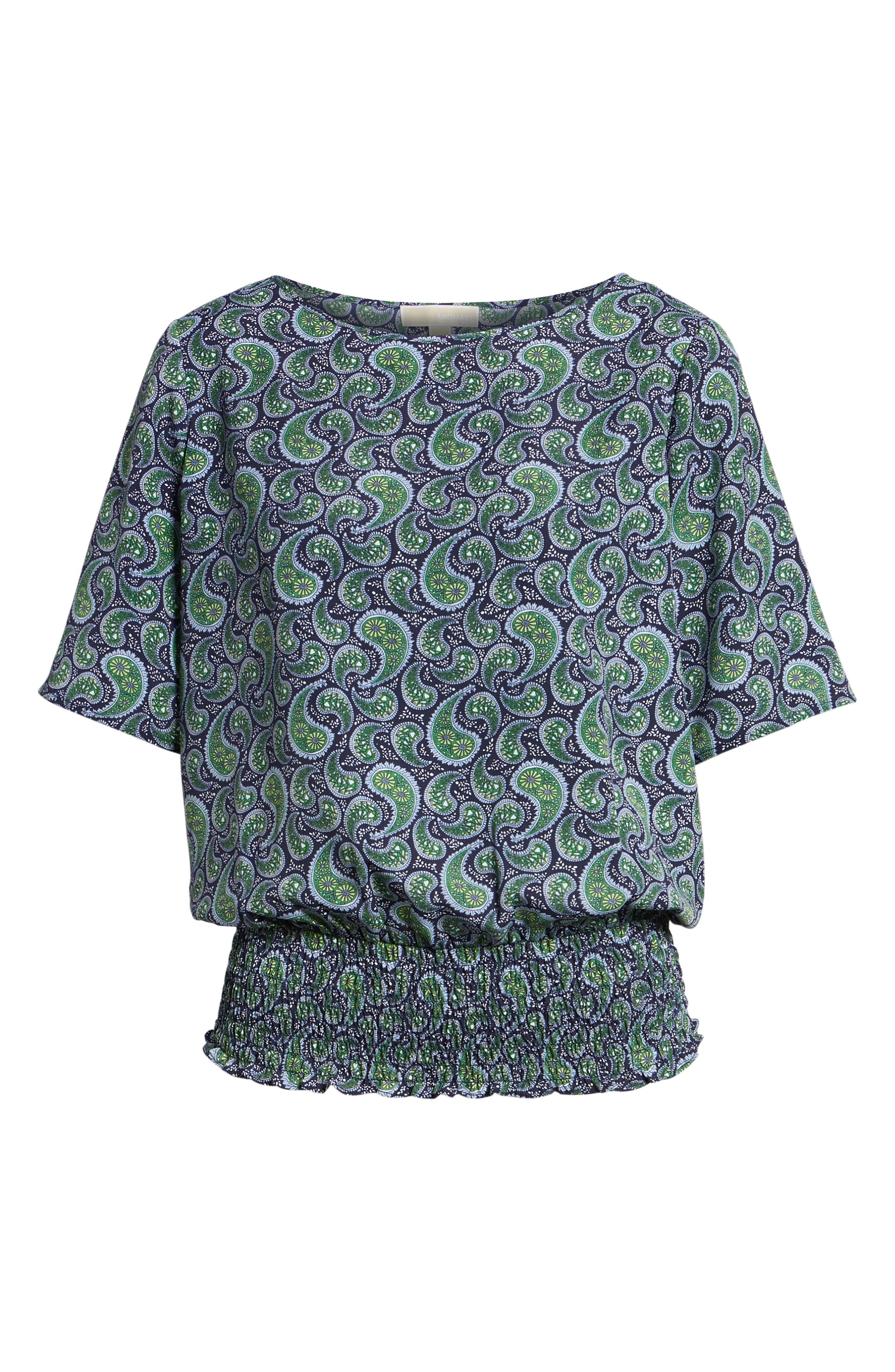 Kimono Sleeve Paisley Top,                             Alternate thumbnail 7, color,                             True Navy/Green Apple Mu