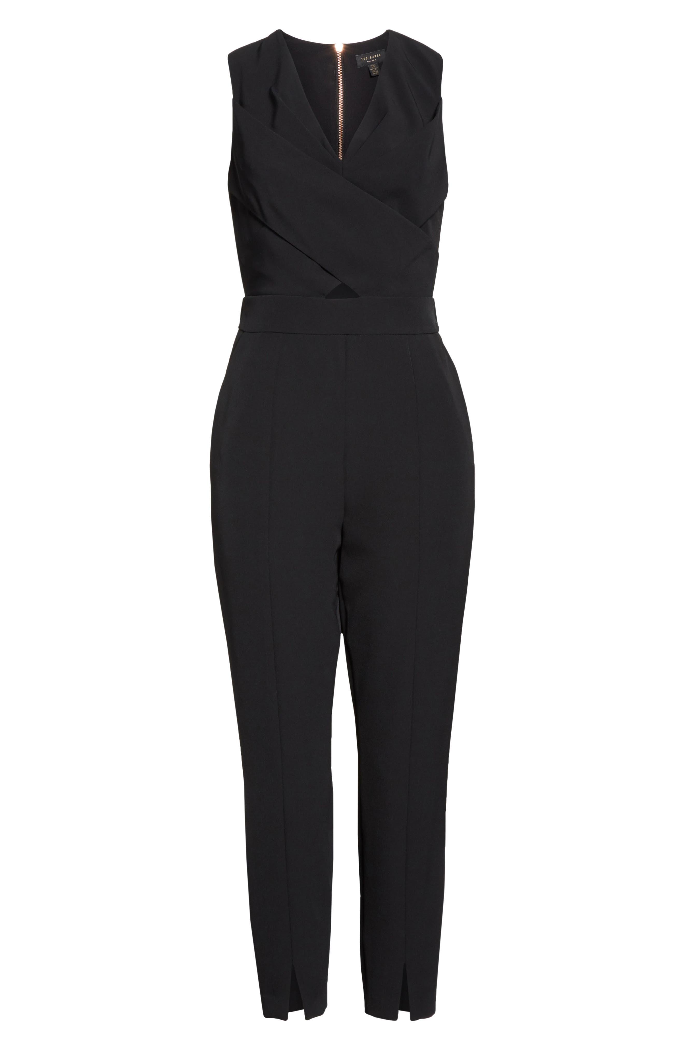 Crisscross Front Jumpsuit,                             Alternate thumbnail 6, color,                             Black