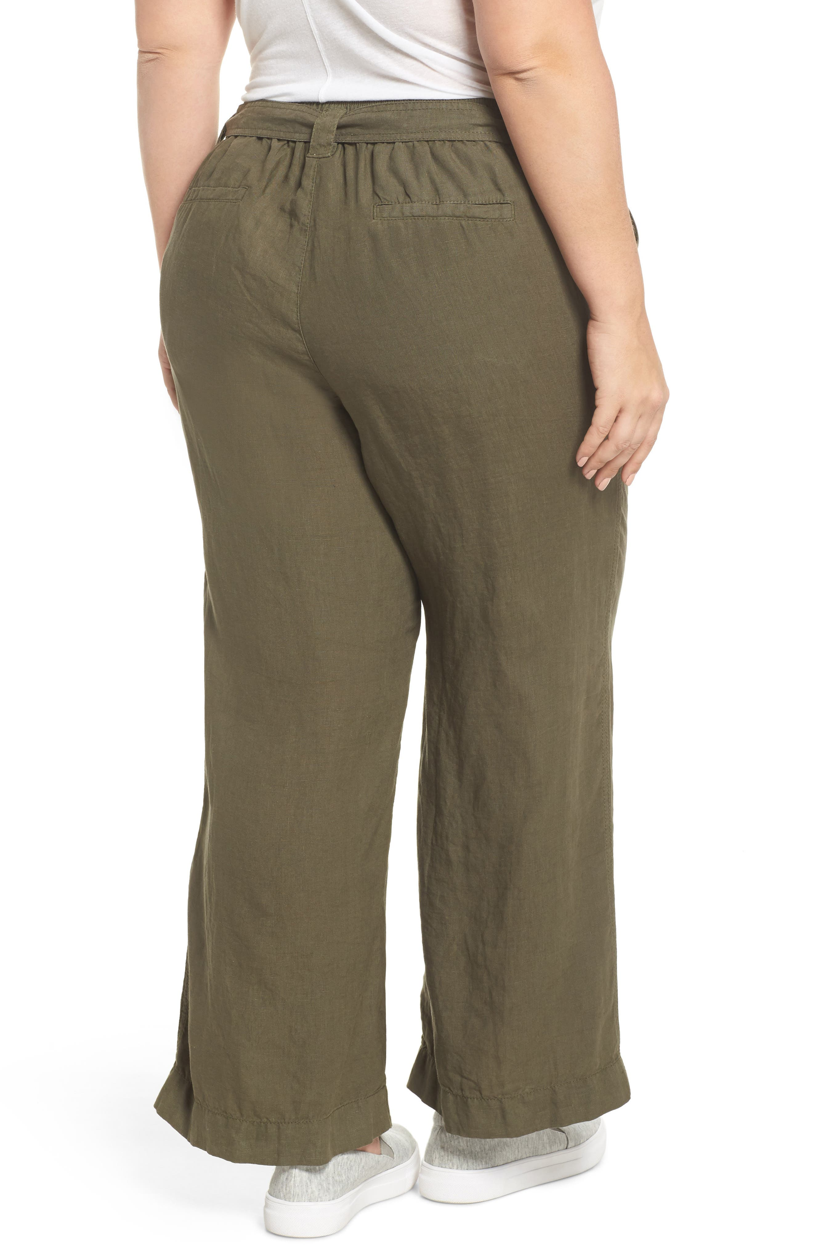 Wide Leg Crop Linen Pants,                             Alternate thumbnail 2, color,                             Olive Sarma