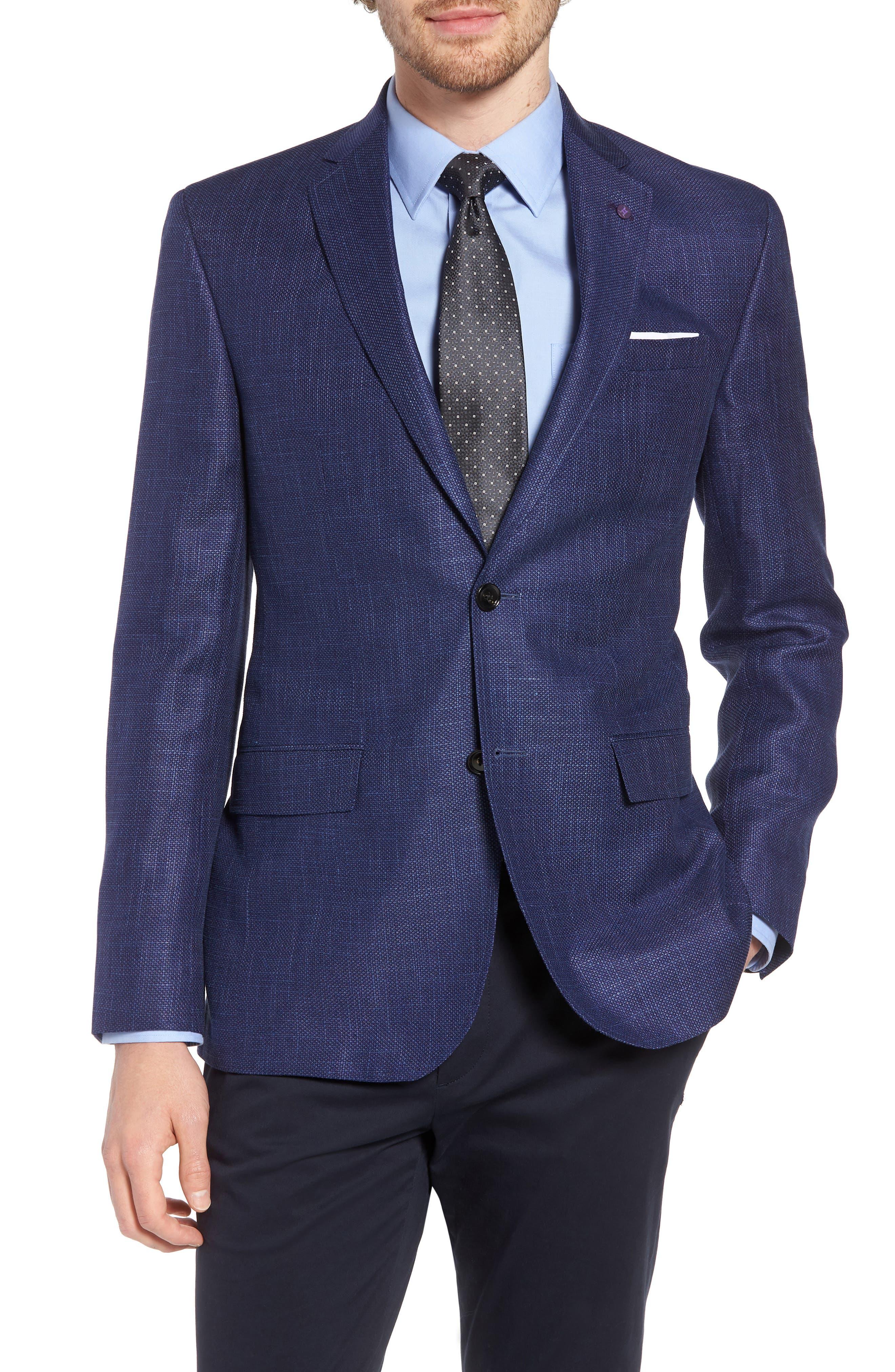 Jay Trim Fit Linen & Wool Blazer,                             Main thumbnail 1, color,                             Blue