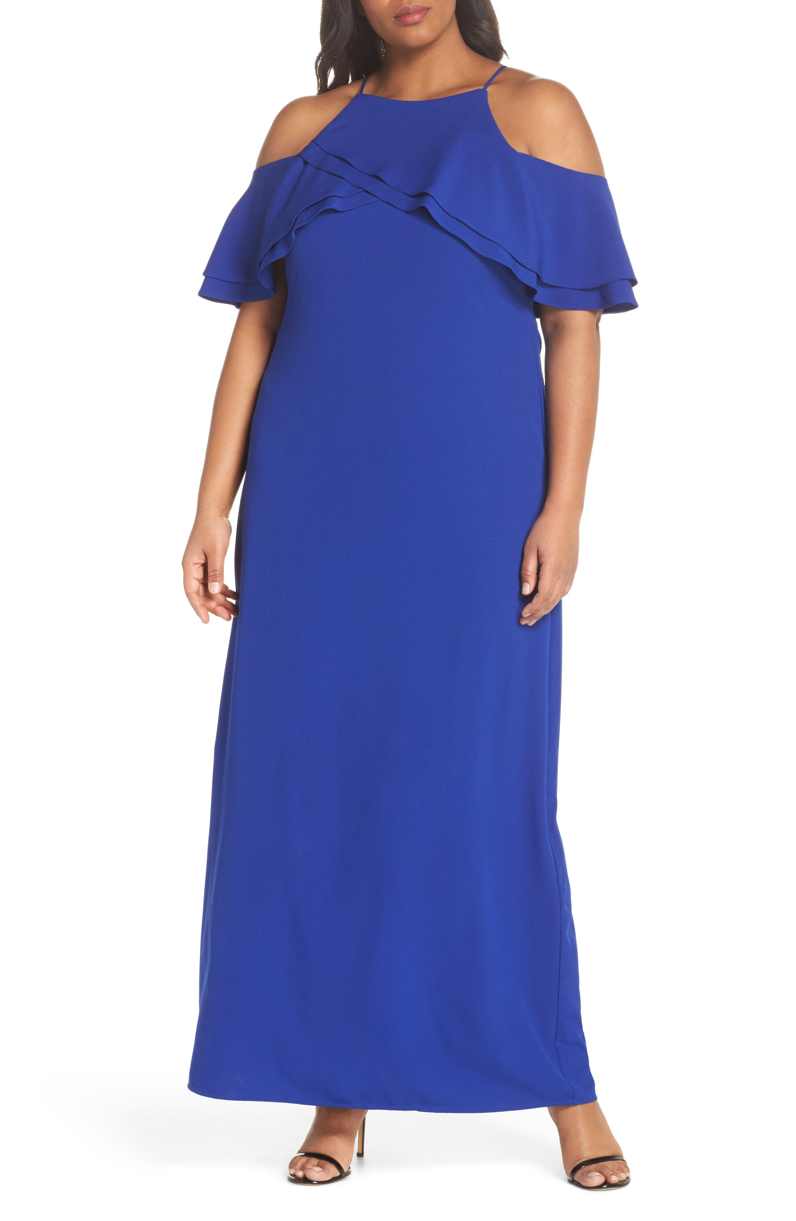 Ruffle Cold Shoulder Gown,                         Main,                         color, Cobalt