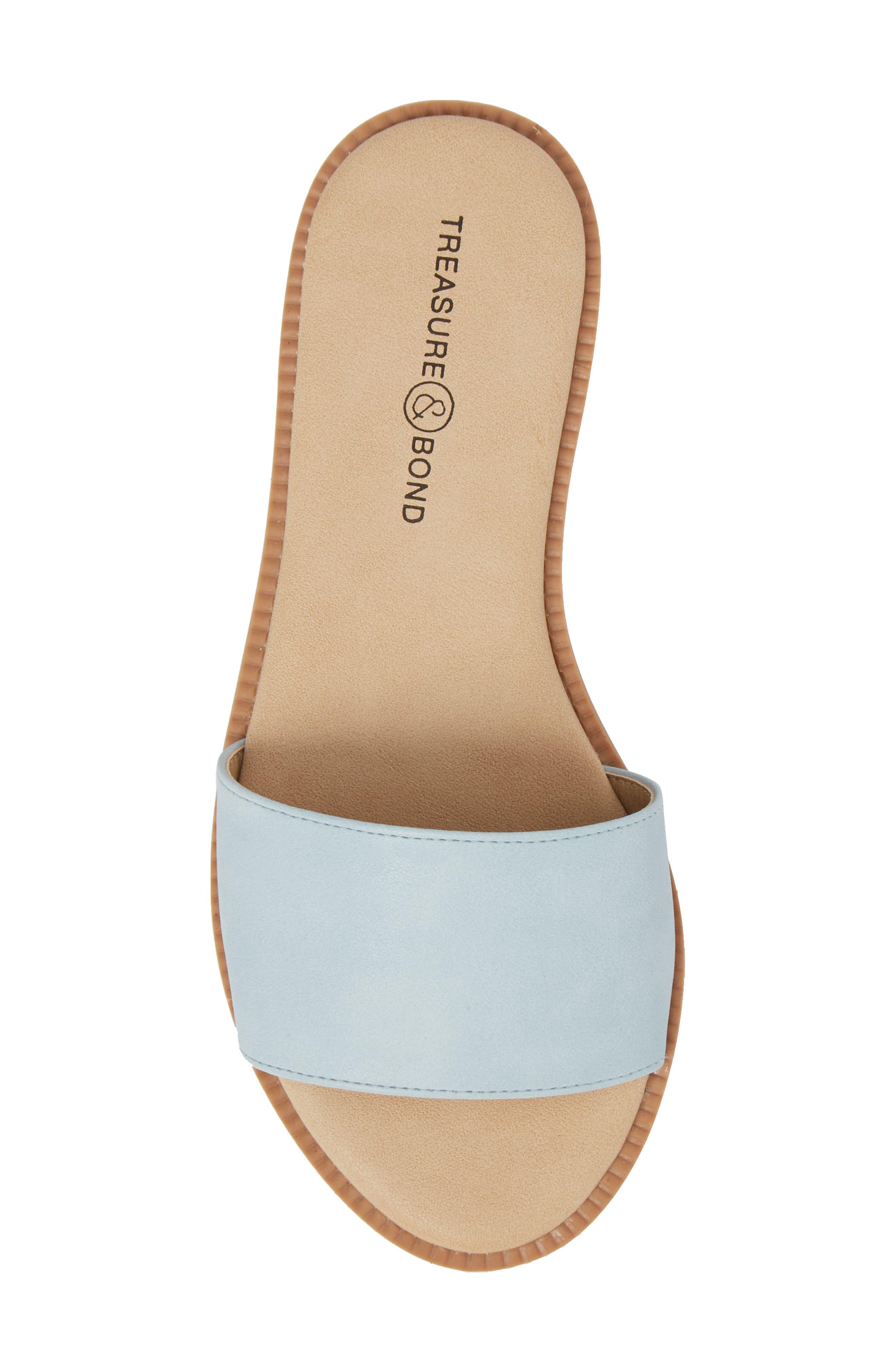 Mia Slide Sandal,                             Alternate thumbnail 5, color,                             Aqua Faux Leather
