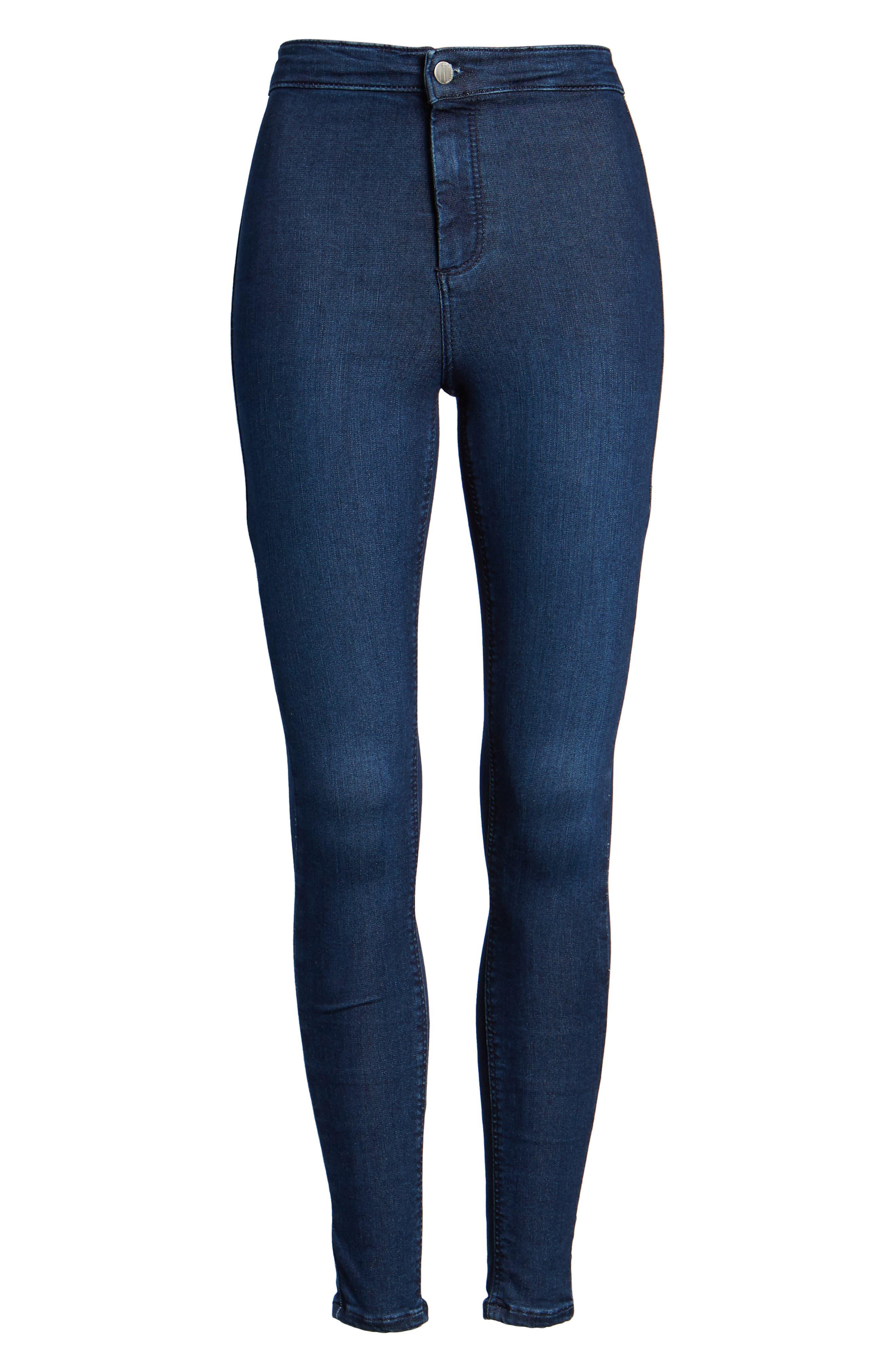 Moto 'Joni' Super Skinny Jeans,                             Alternate thumbnail 7, color,                             Navy Blue