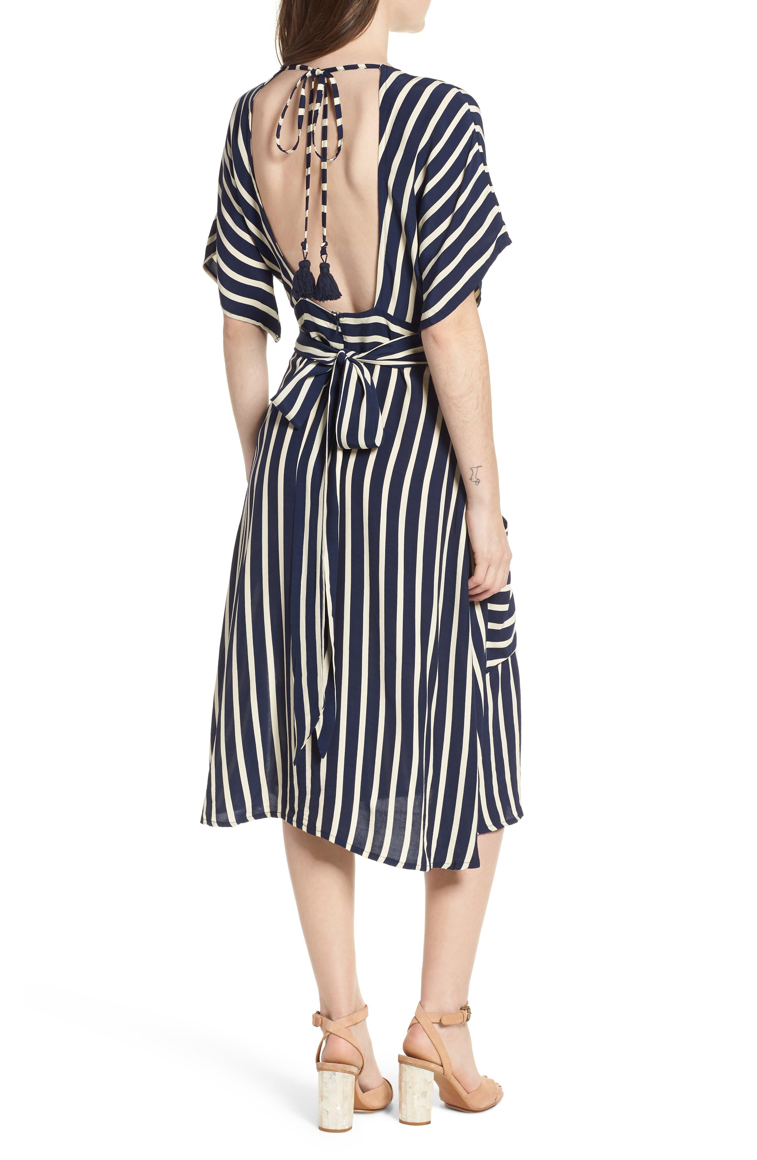 Milan Stripe Midi Dress,                             Alternate thumbnail 2, color,                             Mazur Stripe Print Navy