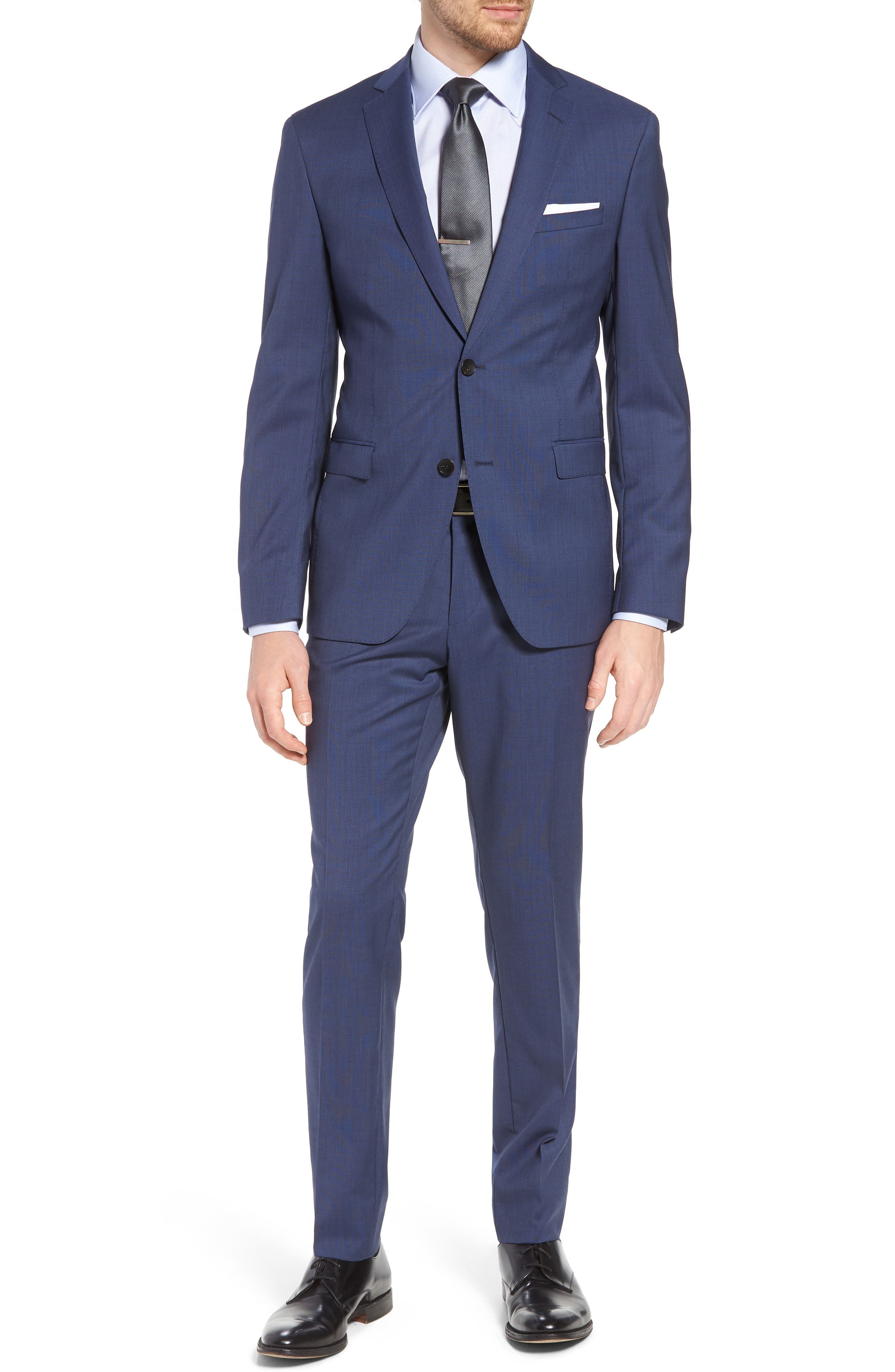 Reyno/Wave Extra Trim Fit Solid Wool Suit,                         Main,                         color, Medium Blue