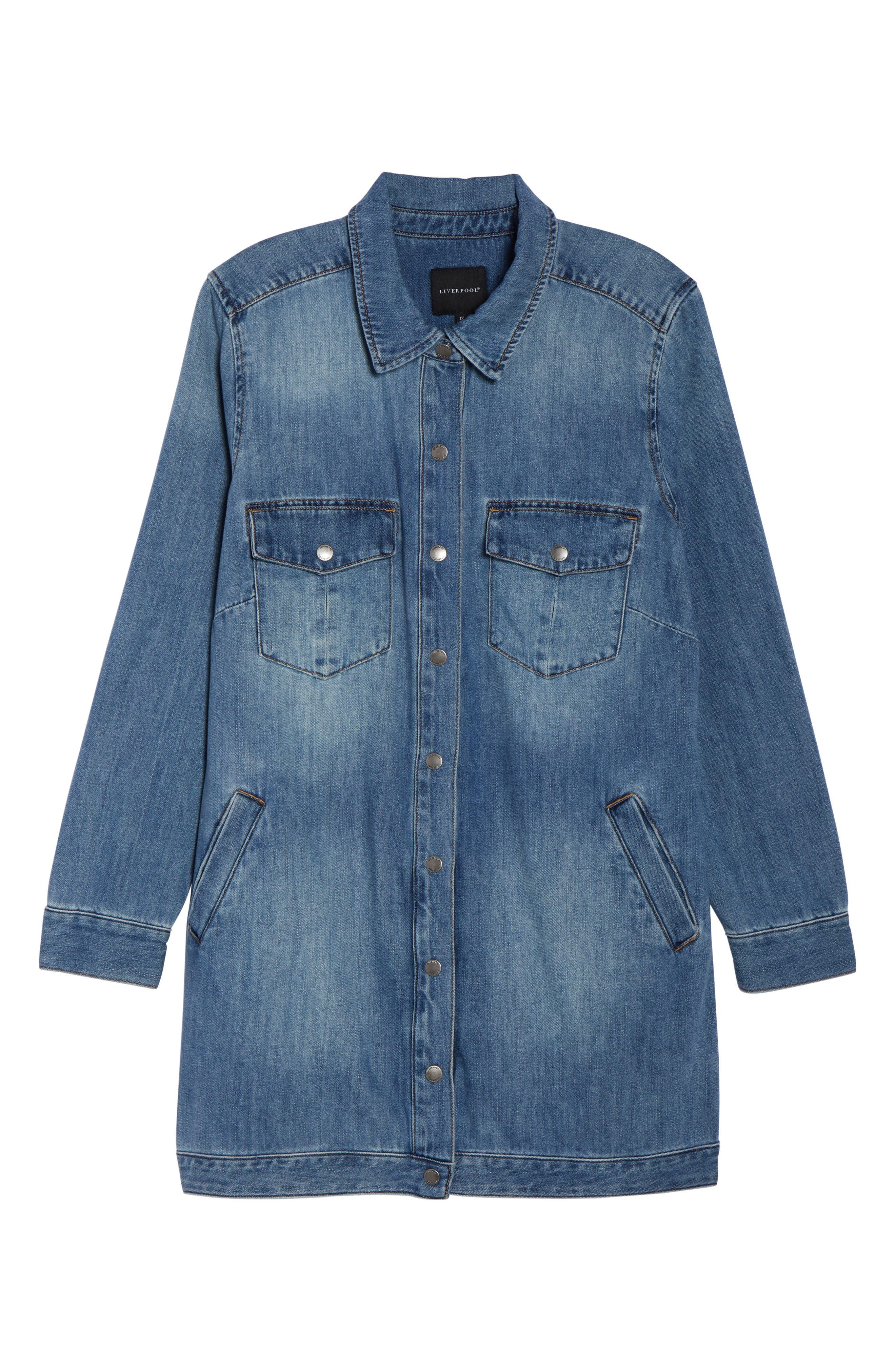 Long Denim Shirt Jacket,                             Alternate thumbnail 7, color,                             Sutter Wash