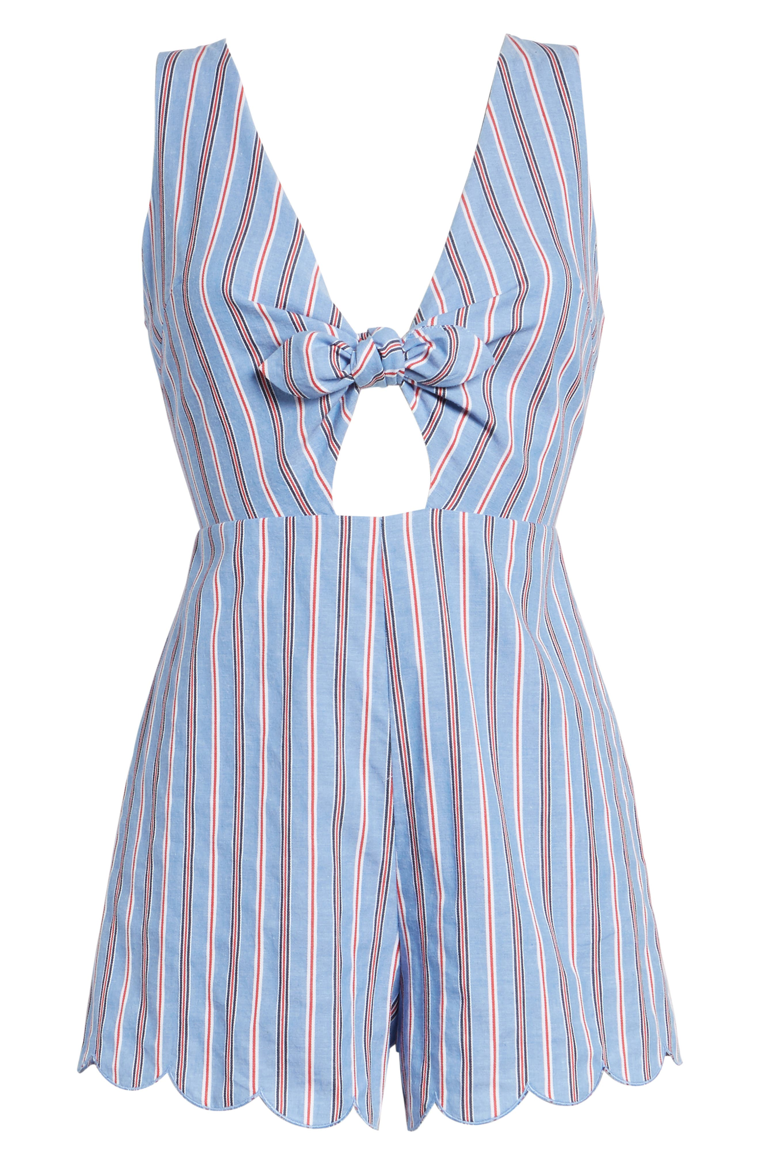 Knot Front Romper,                             Alternate thumbnail 6, color,                             Red/ Blue Stripe