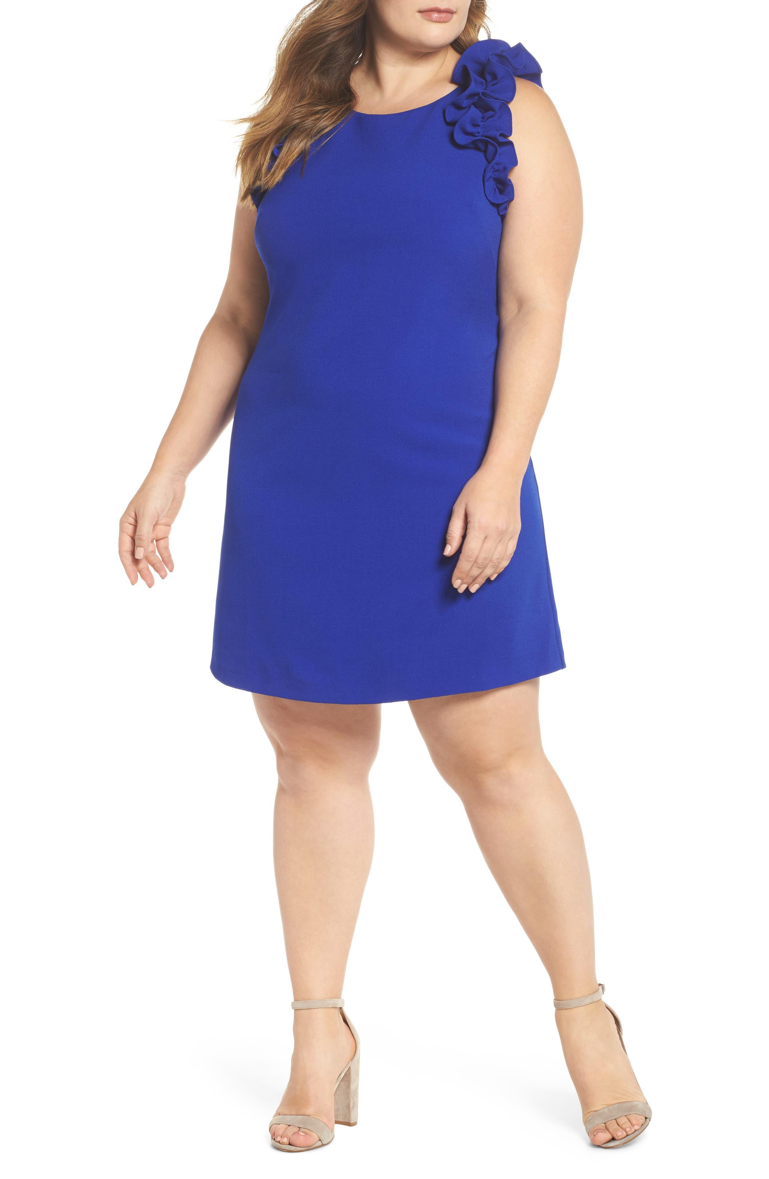 Ruffle Shoulder Crepe Shift Dress,                             Main thumbnail 1, color,                             Blue Surf