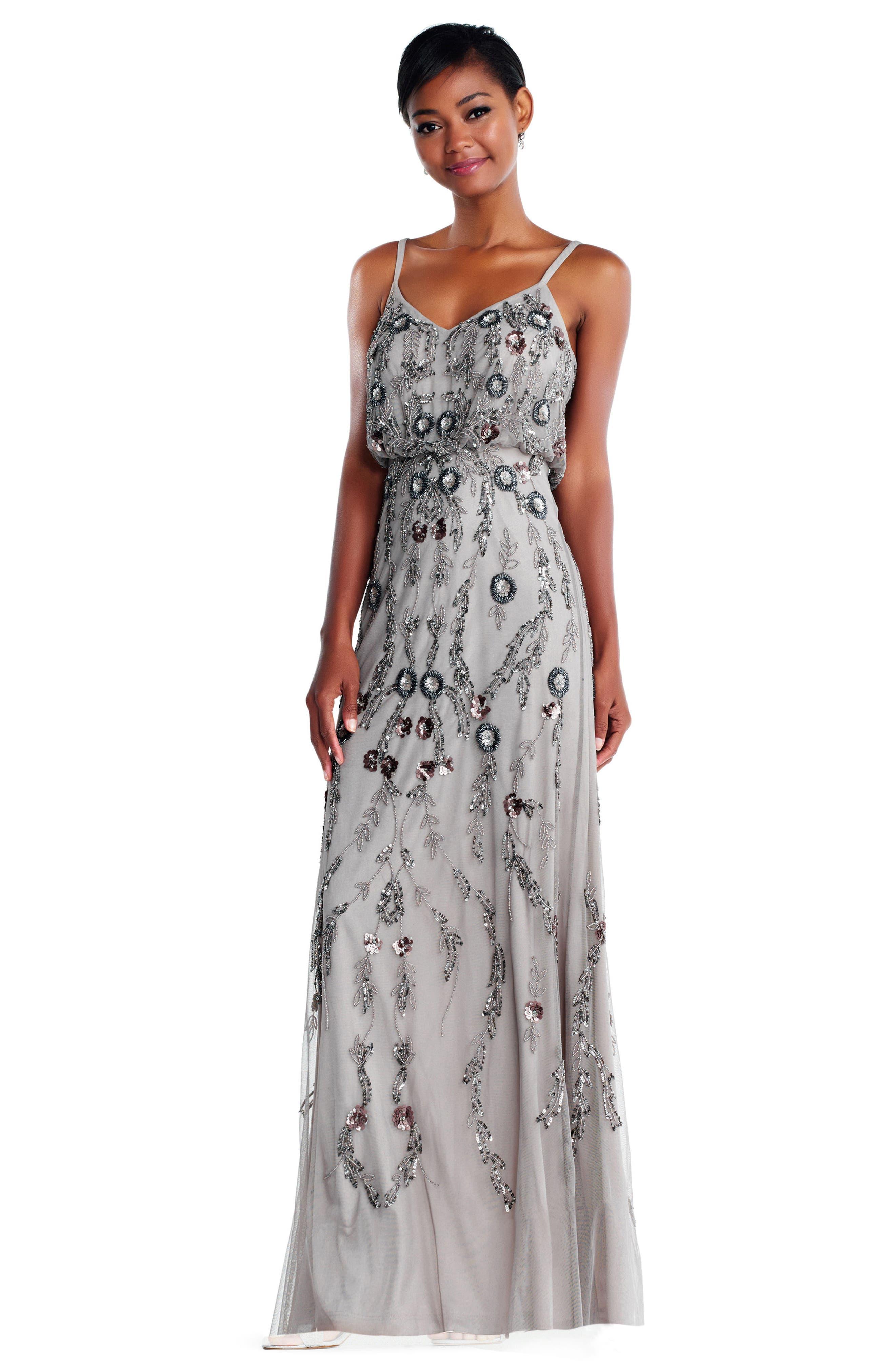 Mesh Blouson Gown,                             Alternate thumbnail 2, color,                             Platinum Multi