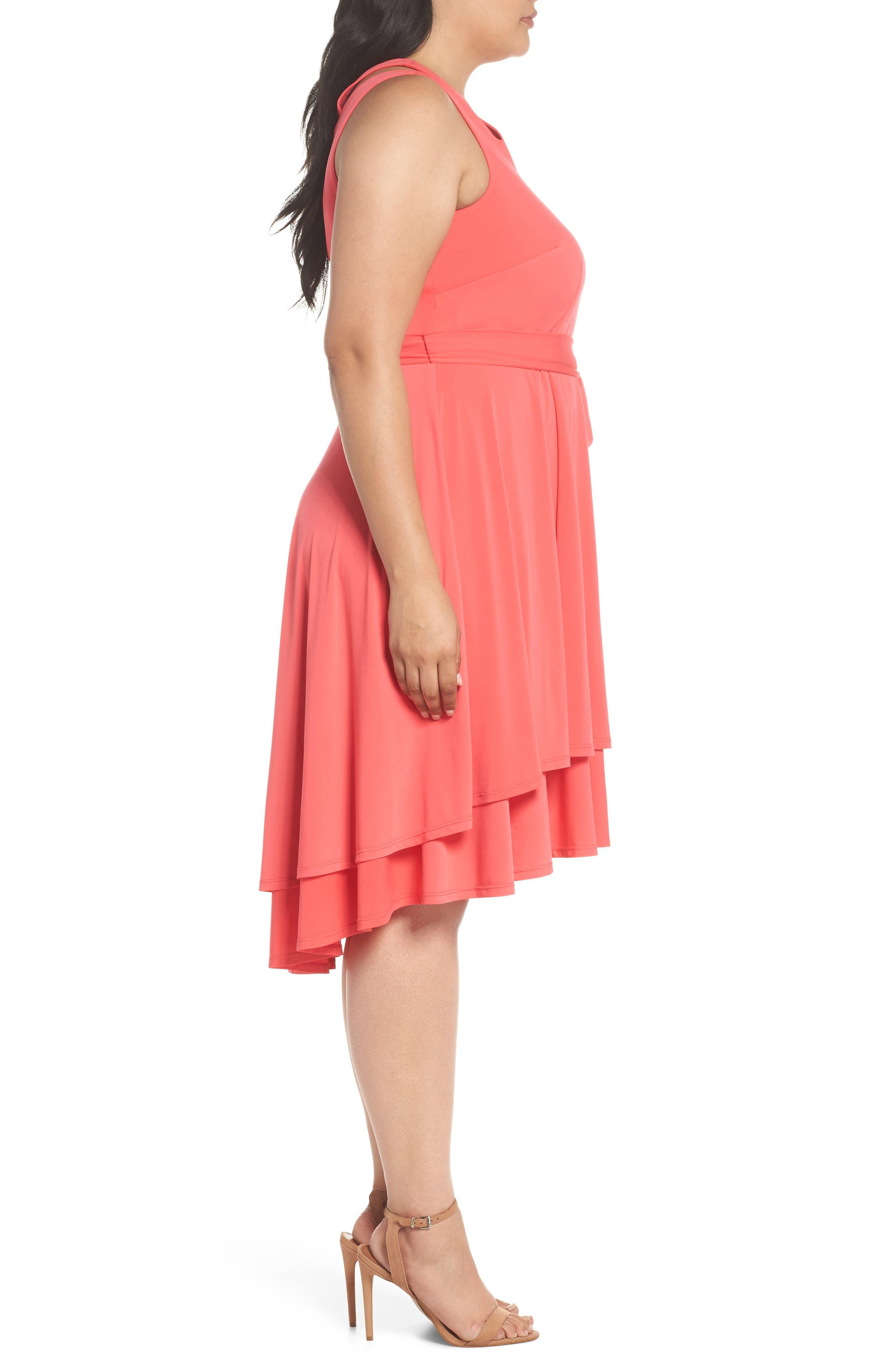 Split Shoulder High/Low Knit Dress,                             Alternate thumbnail 3, color,                             Pink