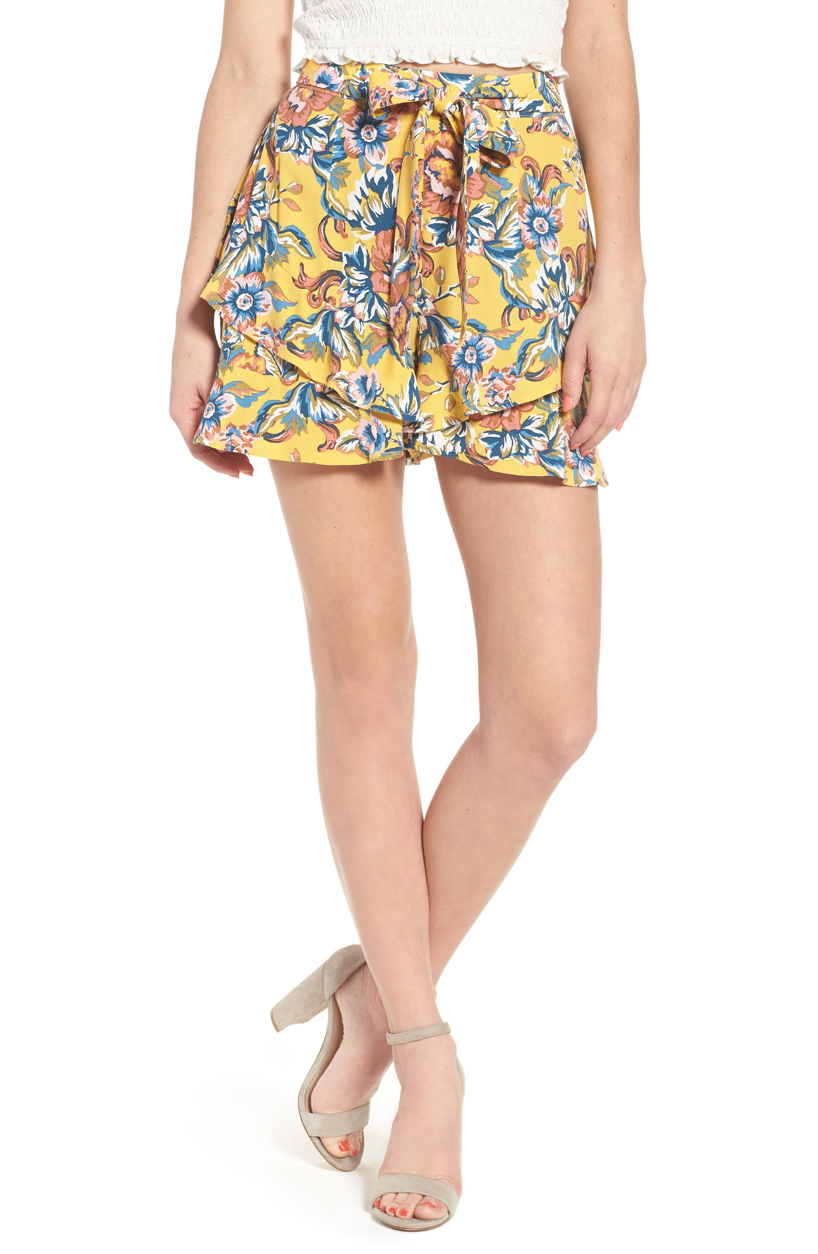 Print Ruffle Shorts,                         Main,                         color, Yellow Ochre Tapestry Floral