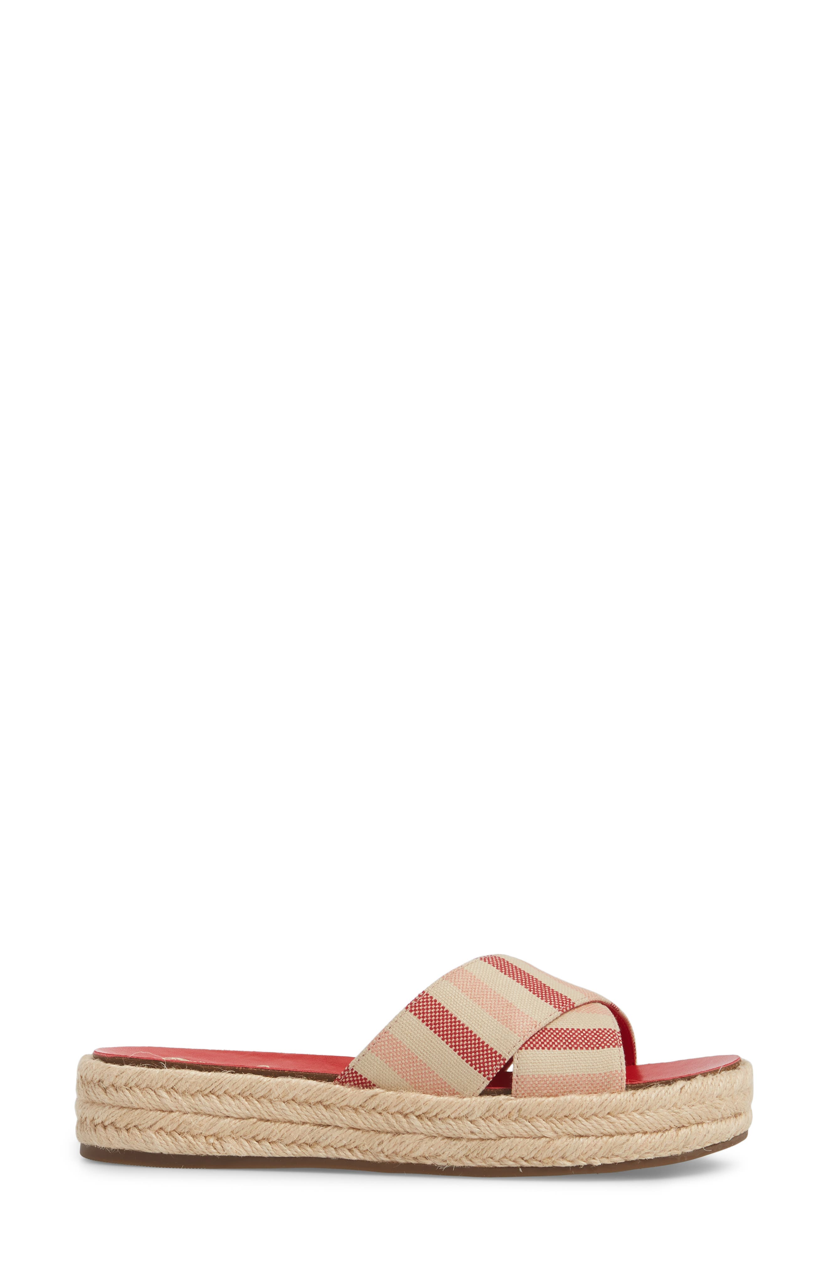 Carran Platform Sandal,                             Alternate thumbnail 3, color,                             Red Hot Rio Stripe Canvas