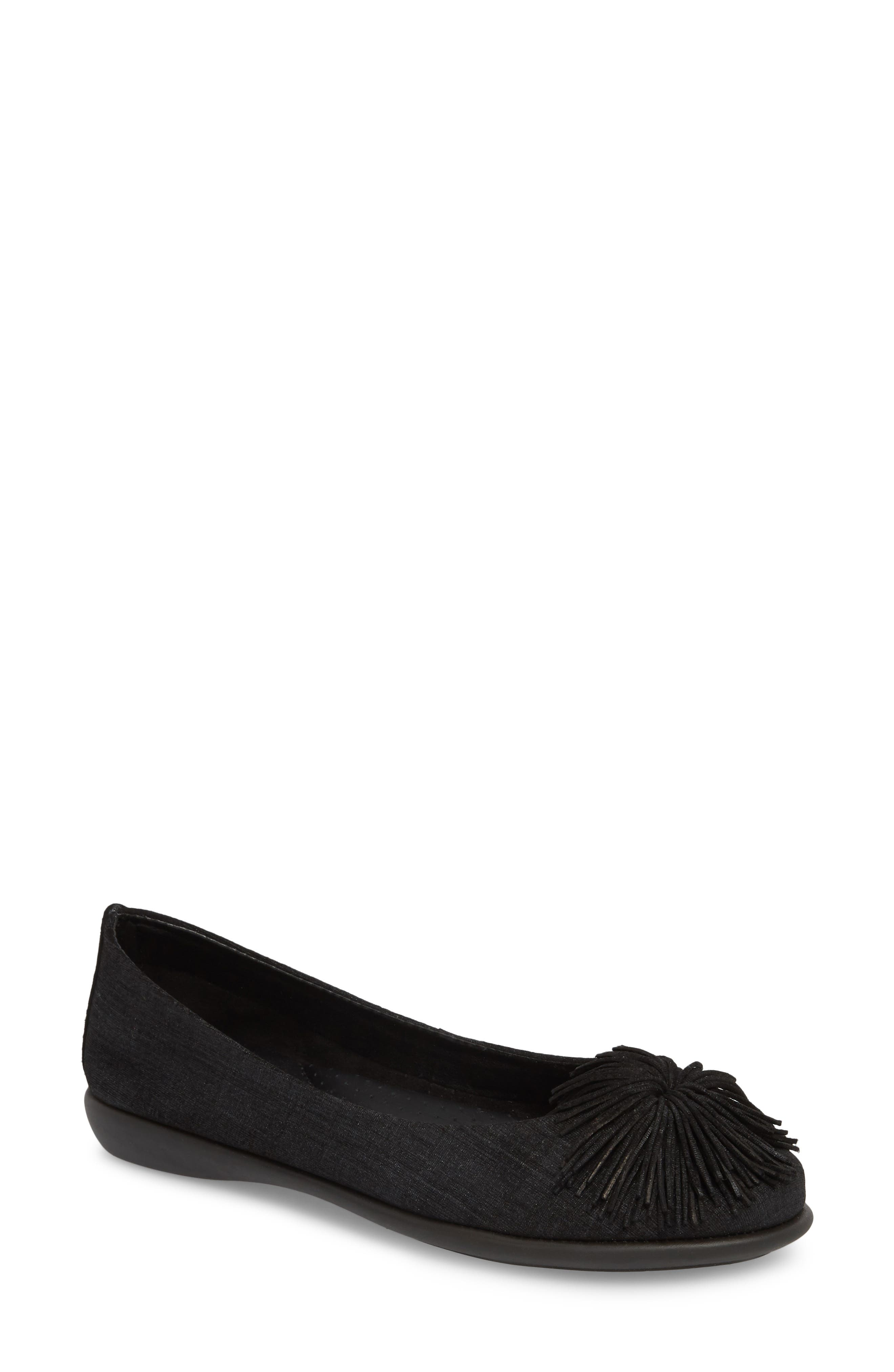 Ballet Flats Ballerina Shoes for Women On Sale in Outlet, Black, Suede leather, 2017, 3.5 4.5 5.5 6.5 Prada