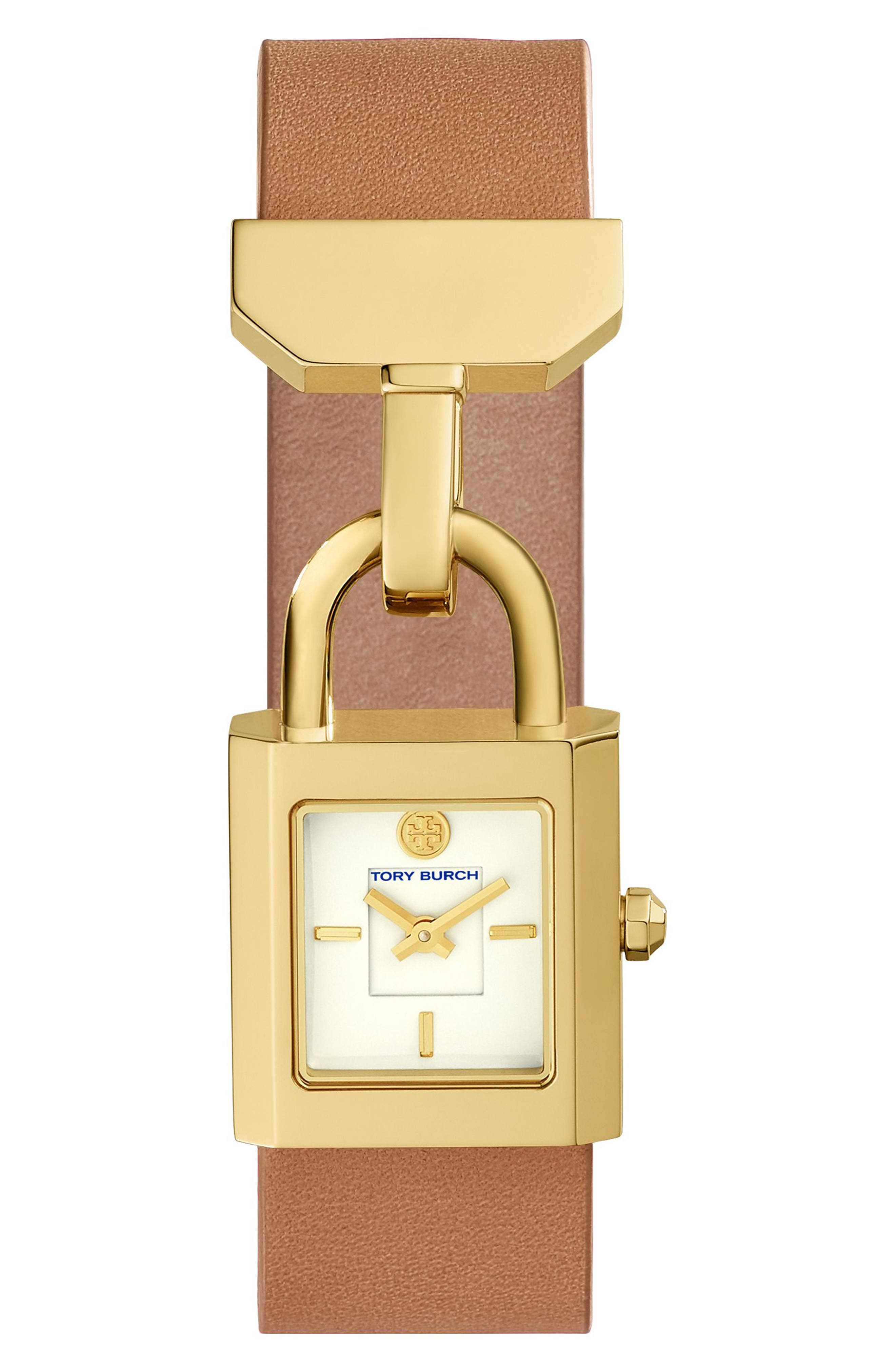 Surrey Leather Strap Watch, 22mm x 23.5mm,                         Main,                         color, Luggage/ Ivory/ Gold