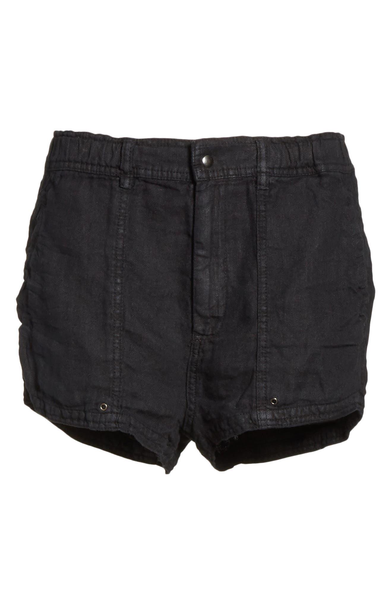 Beacon Utility Linen Shorts,                             Alternate thumbnail 6, color,                             Black