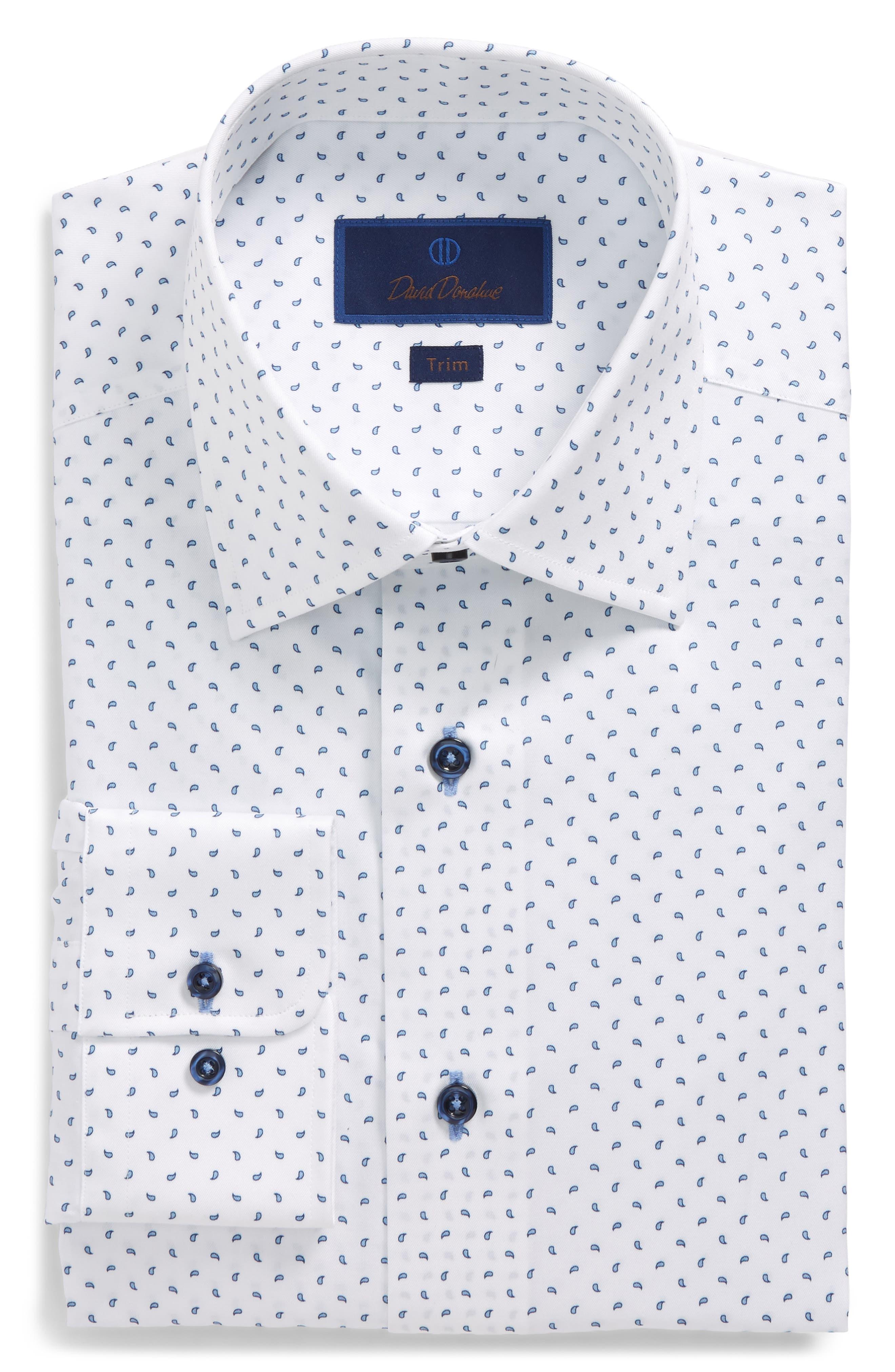 Trim Fit Paisley Dress Shirt,                             Main thumbnail 1, color,                             White