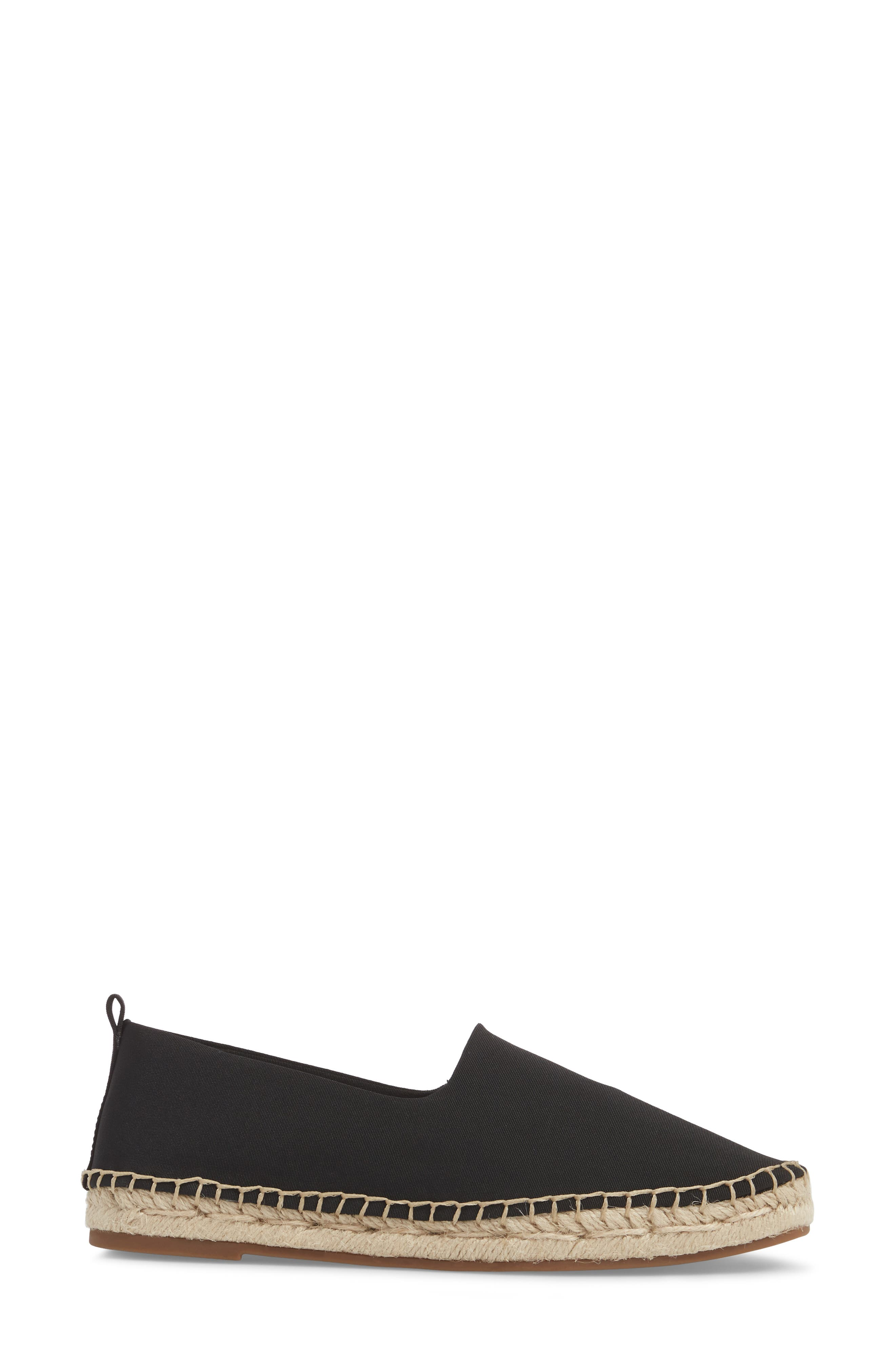 Davir Espadrille Flat,                             Alternate thumbnail 3, color,                             Black Fabric