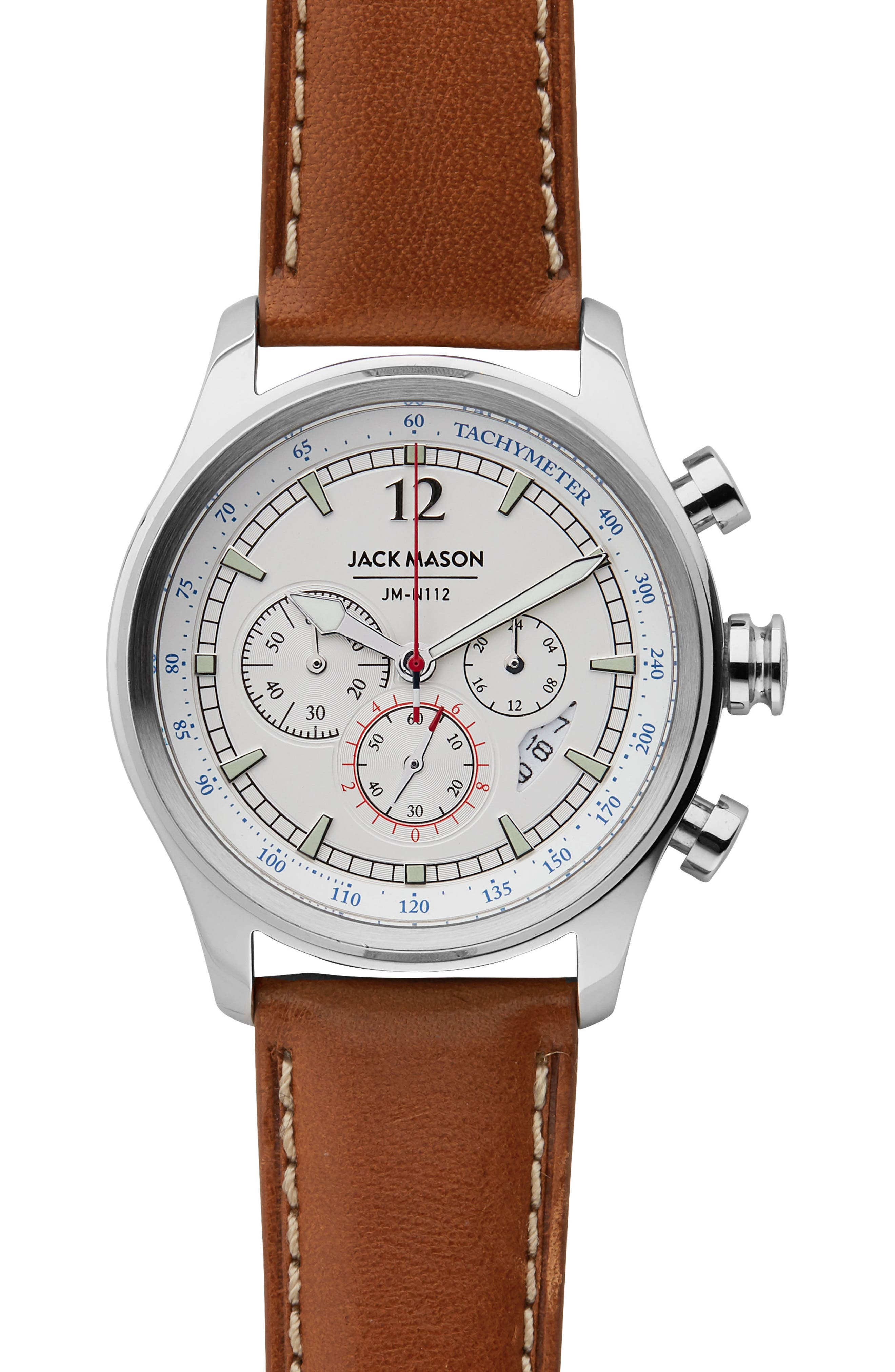 Nautical Chronograph Leather Strap Watch, 42mm,                             Main thumbnail 1, color,                             Multi/ Tan