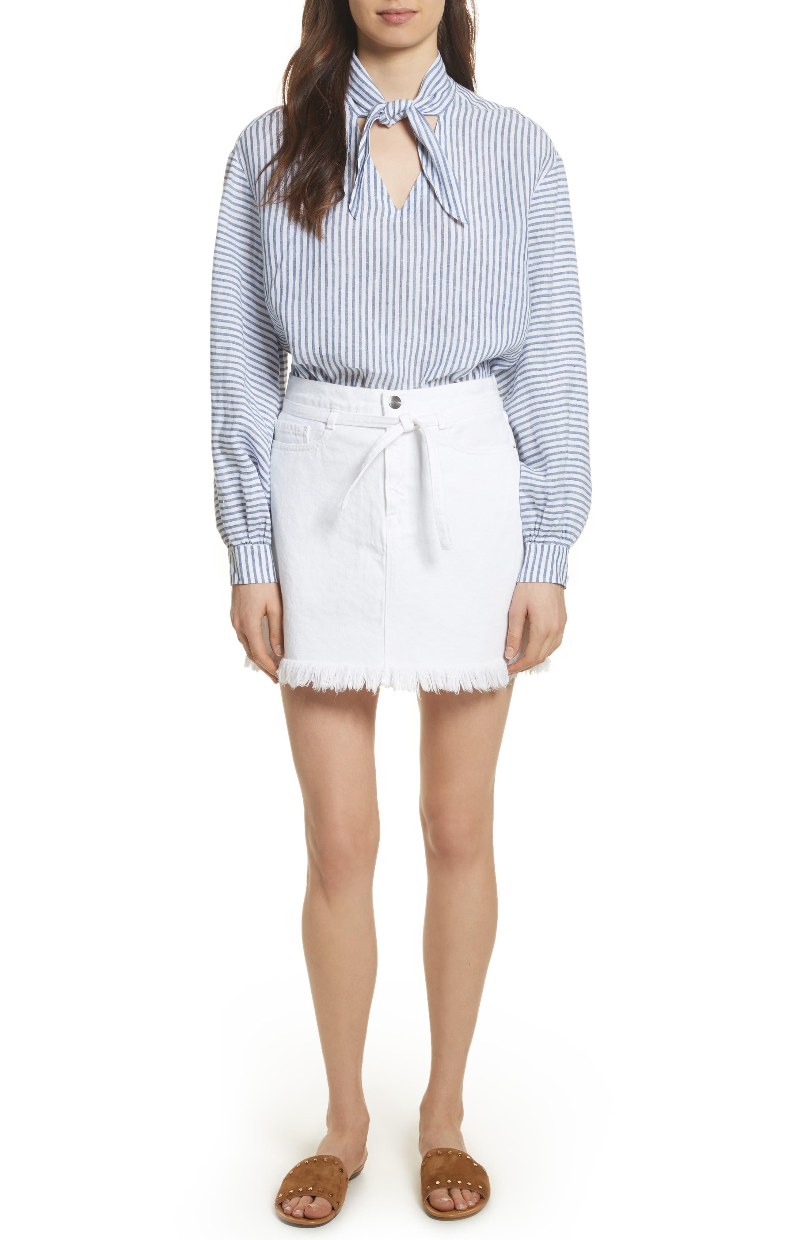 Le High Fray Hem Belted Denim Skirt,                             Alternate thumbnail 7, color,                             Blanc