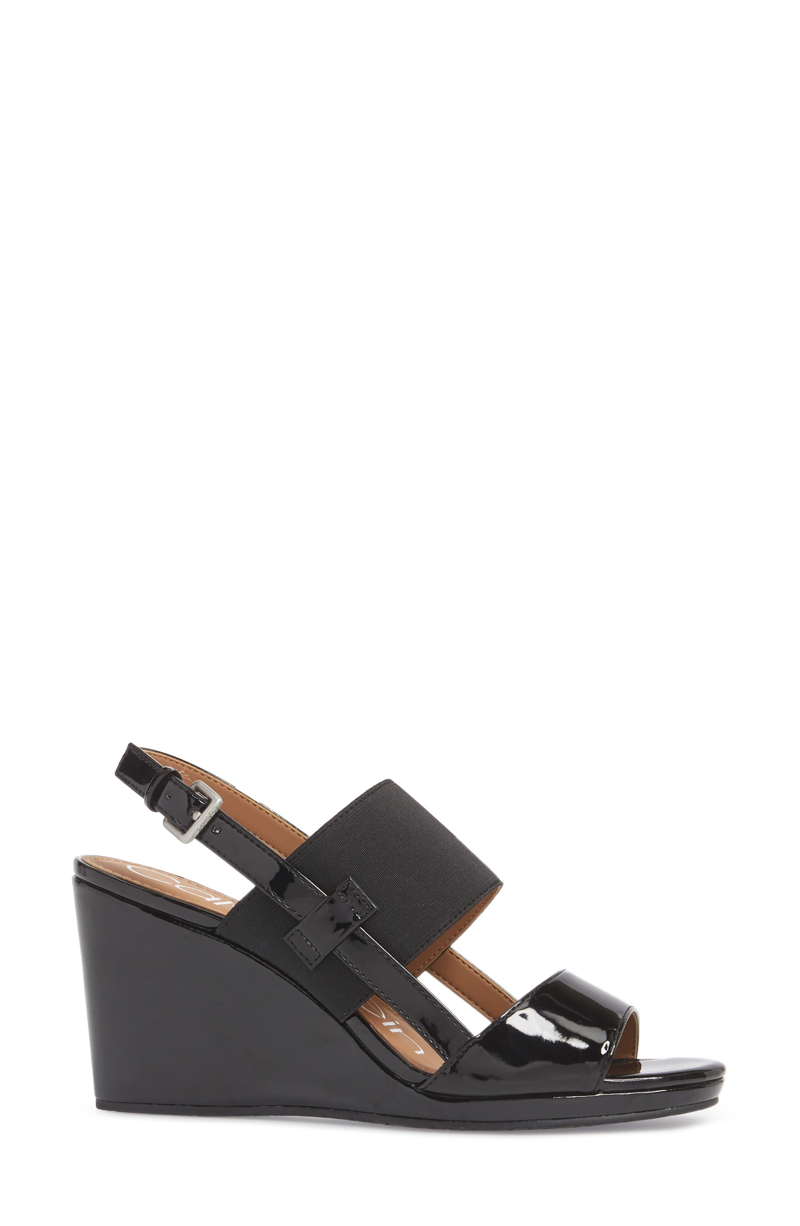 Bethan Wedge Sandal,                             Alternate thumbnail 3, color,                             Black Patent