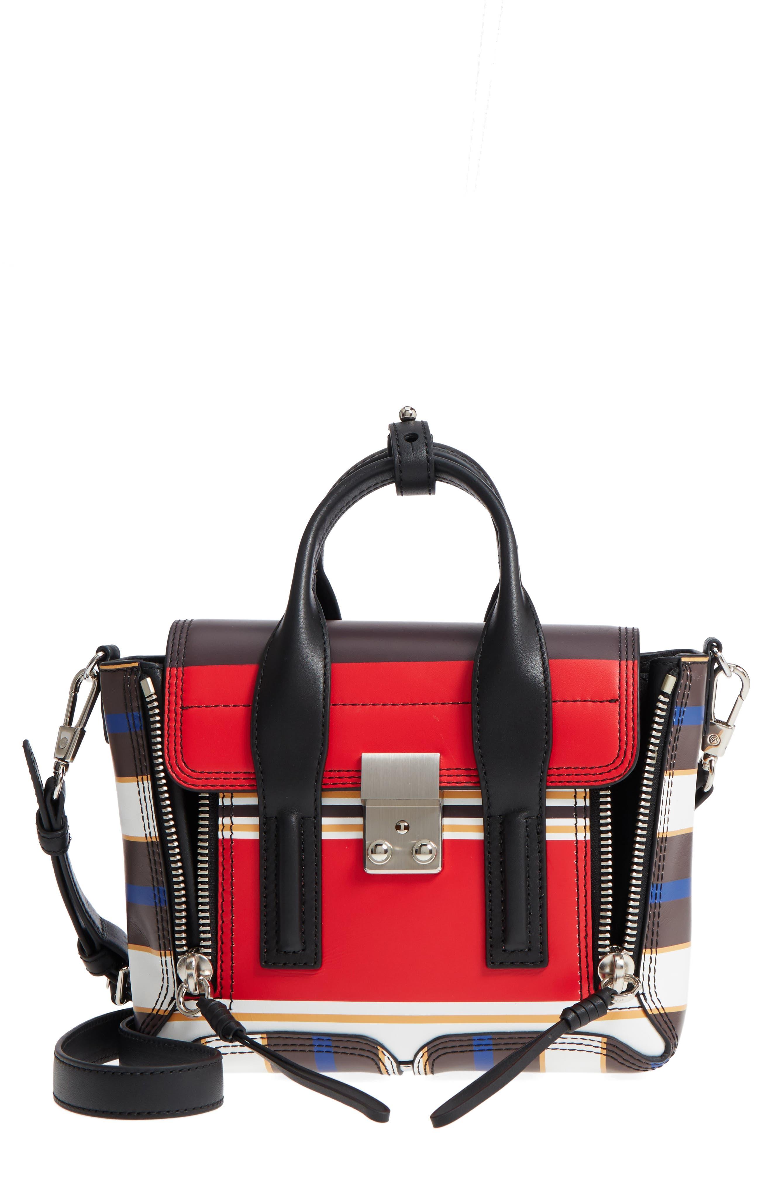 Mini Pashli Stripe Leather Satchel,                             Main thumbnail 1, color,                             Red Multi