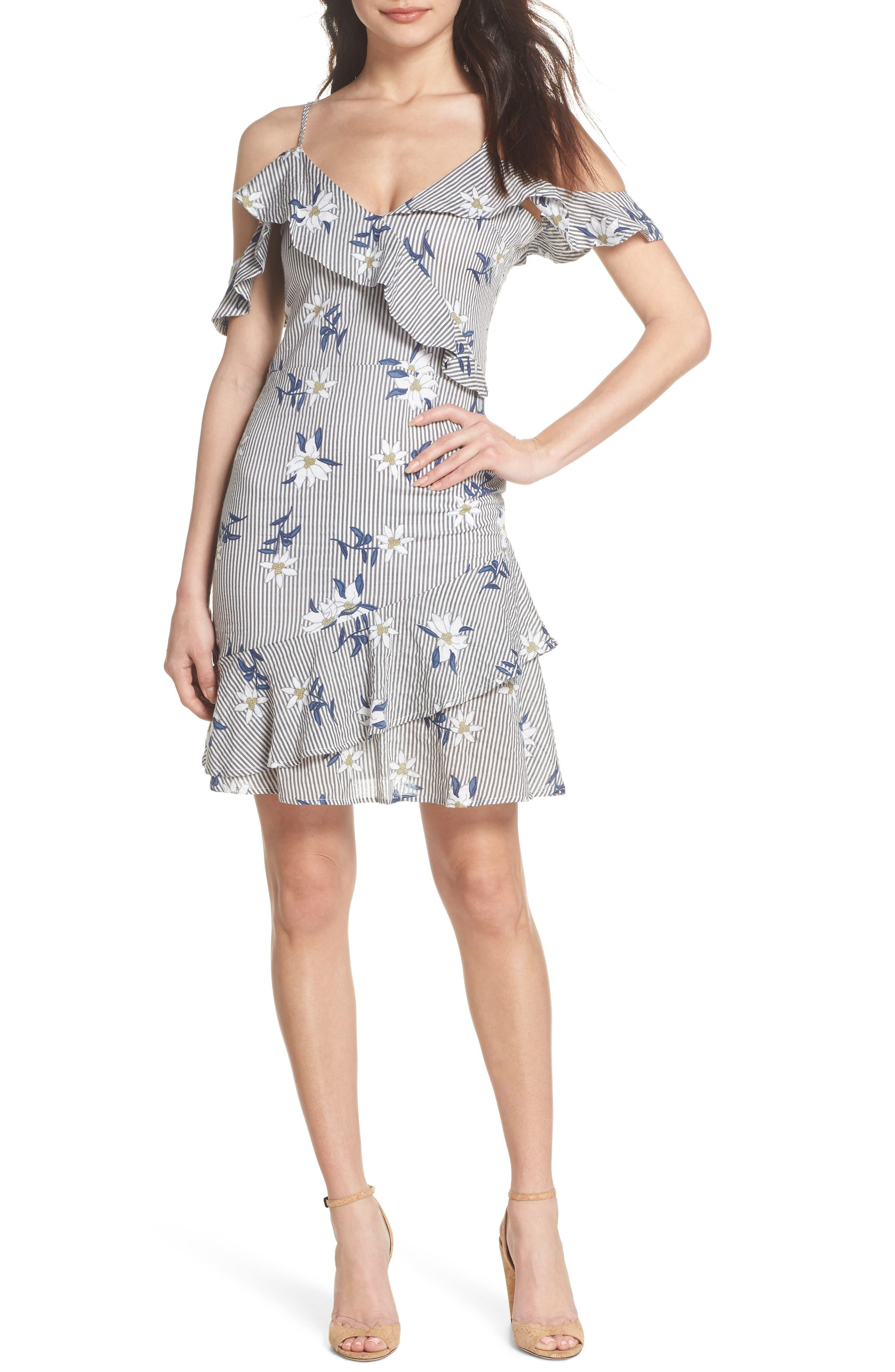 Printed Cold Shoulder Ruffle Dress,                             Main thumbnail 1, color,                             Grey