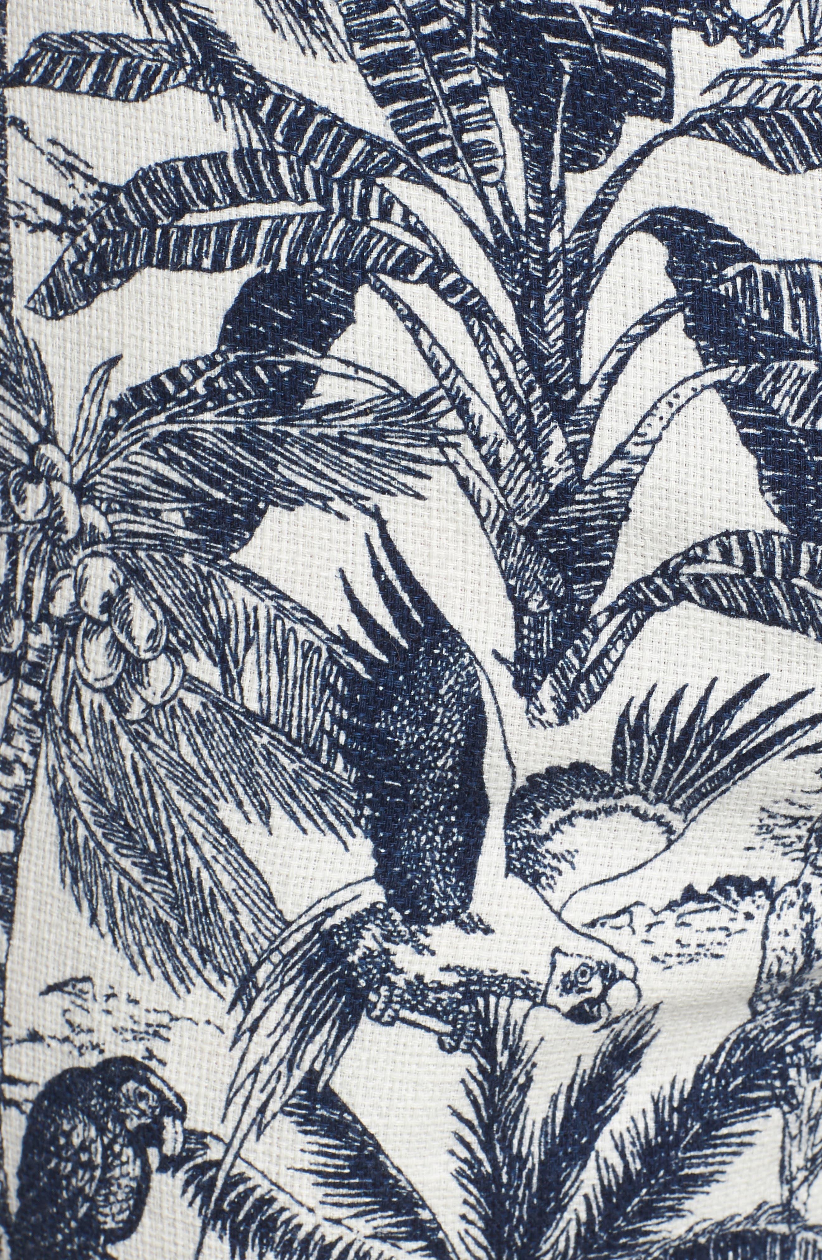 Cotton & Linen Shorts,                             Alternate thumbnail 5, color,                             White Palm Parrot Print