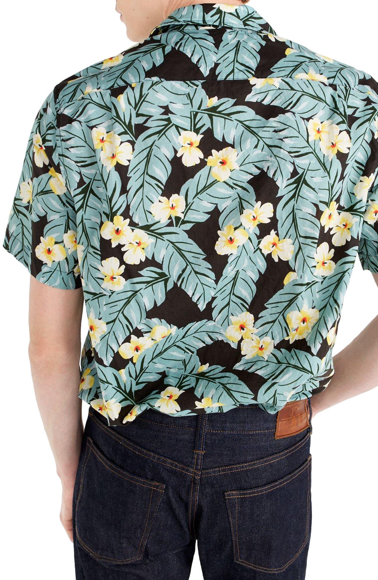 Short Sleeve Jungle Print Slub Cotton Shirt,                             Alternate thumbnail 2, color,                             Jungle Multi