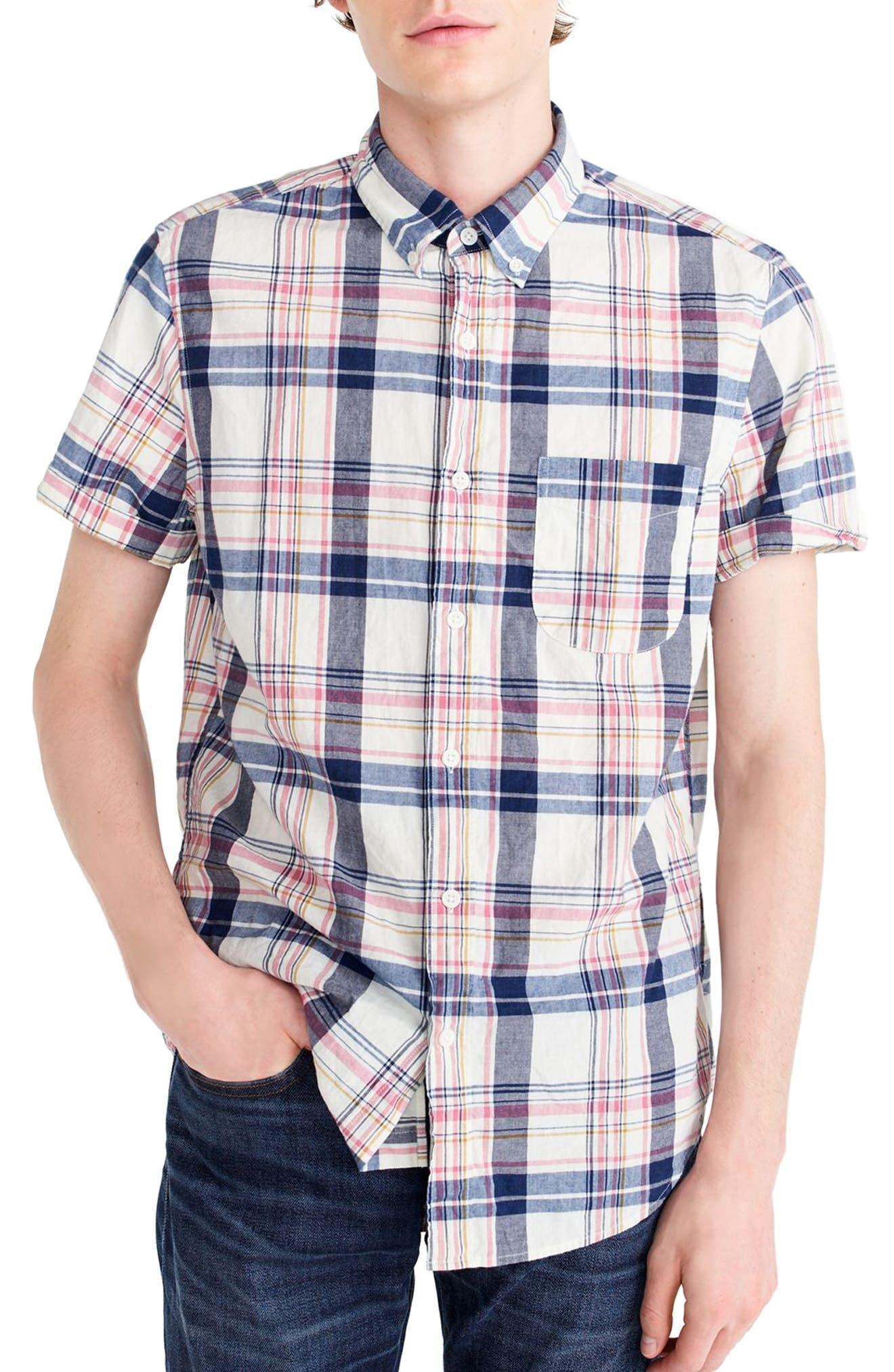 Indigo Plaid Short Sleeve Madras Shirt,                             Main thumbnail 1, color,                             Indigo Creme