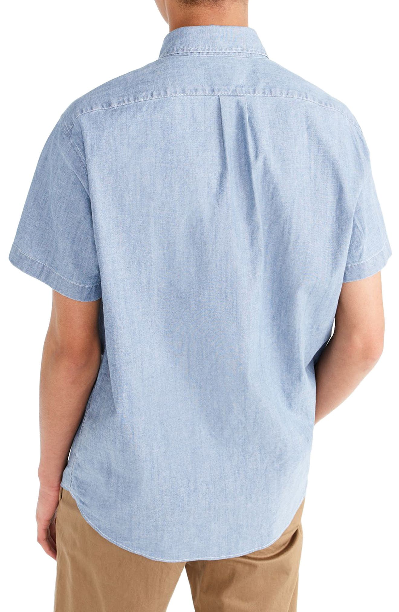 J.Crew Short Sleeve Stretch Chambray Popover Shirt,                             Alternate thumbnail 2, color,                             Indigo