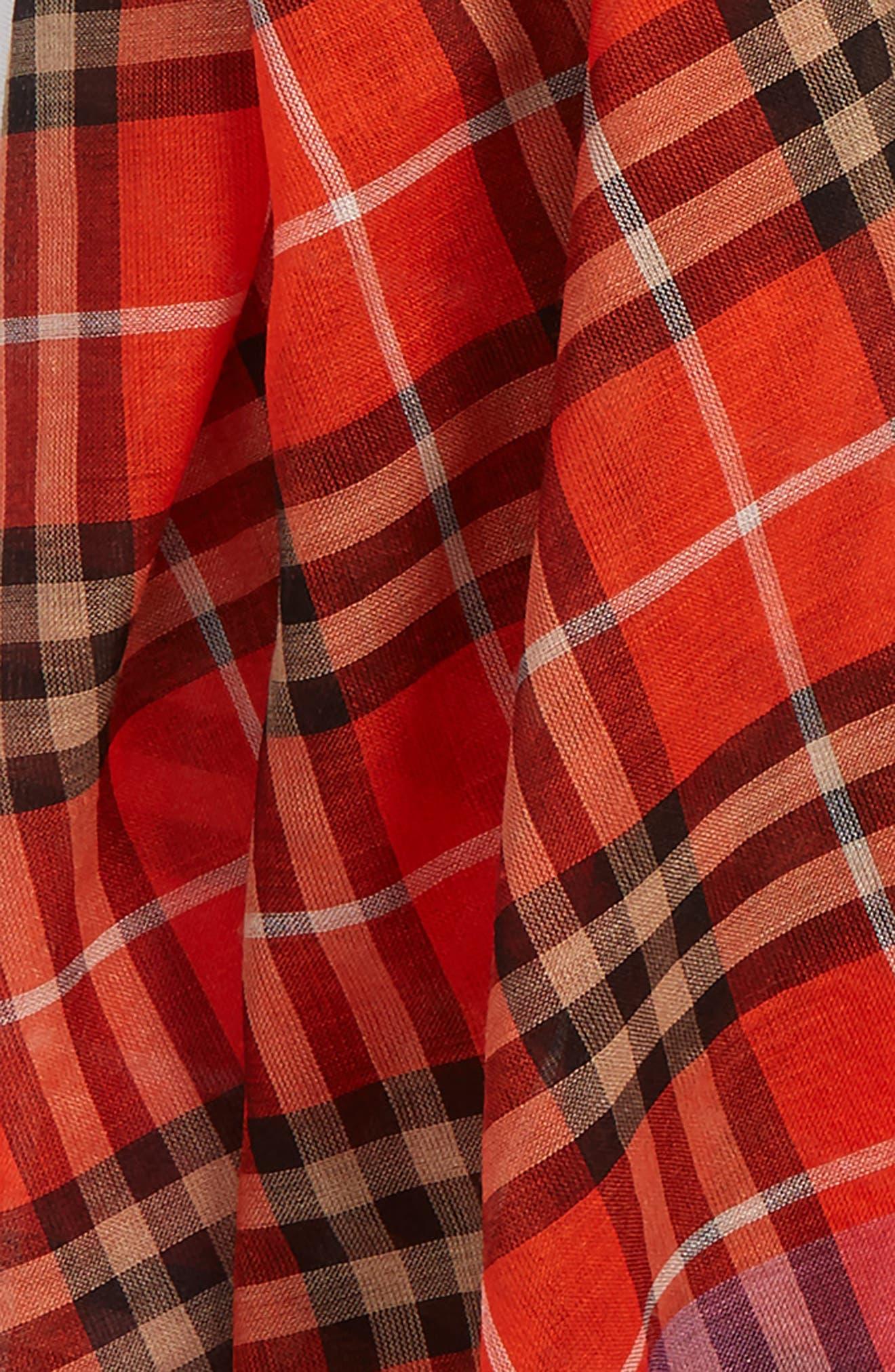 Border Vintage Check Wool & Silk Scarf,                             Alternate thumbnail 3, color,                             Orange Red