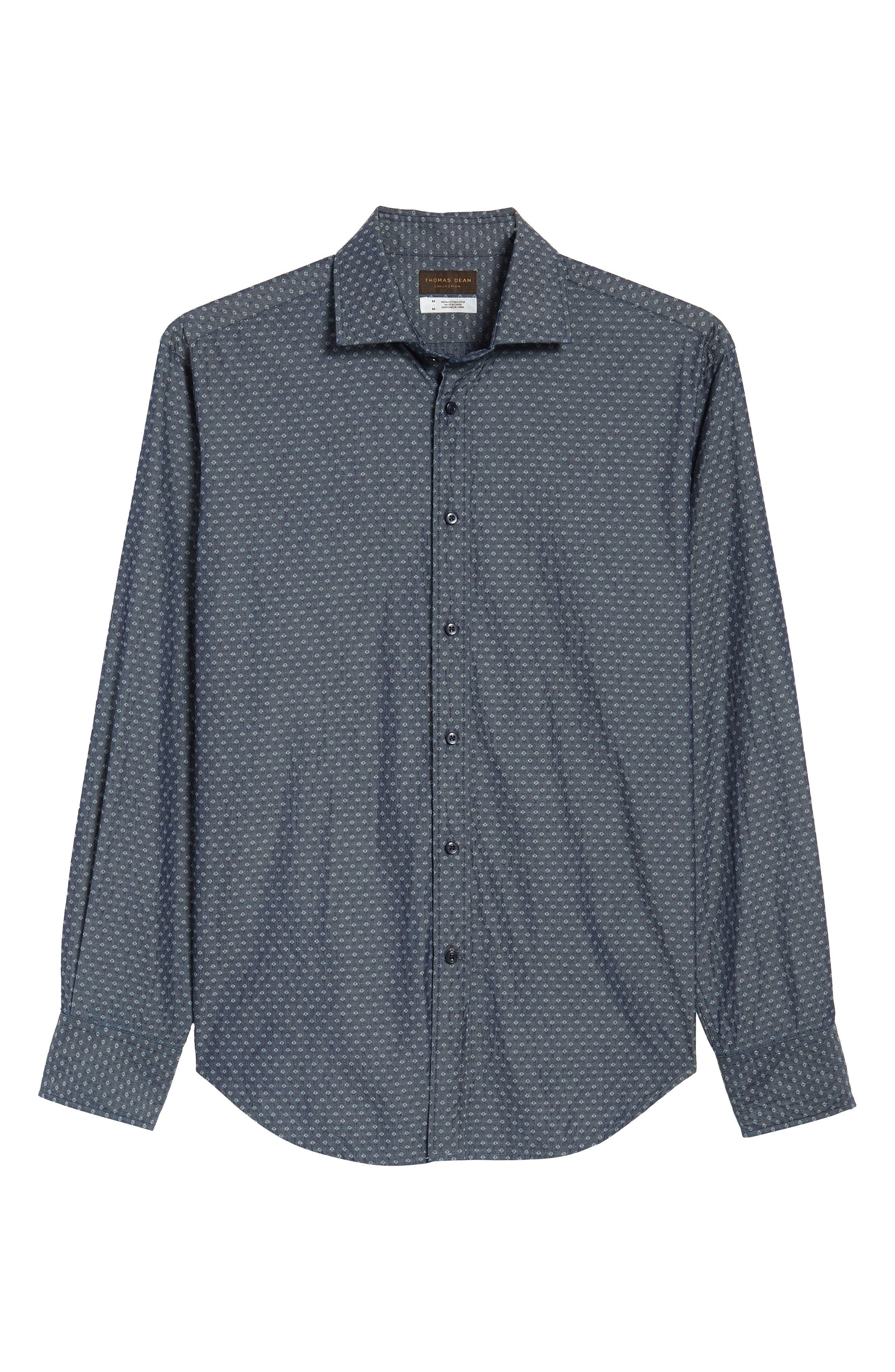 Print Sport Shirt,                             Alternate thumbnail 6, color,                             Dark Blue