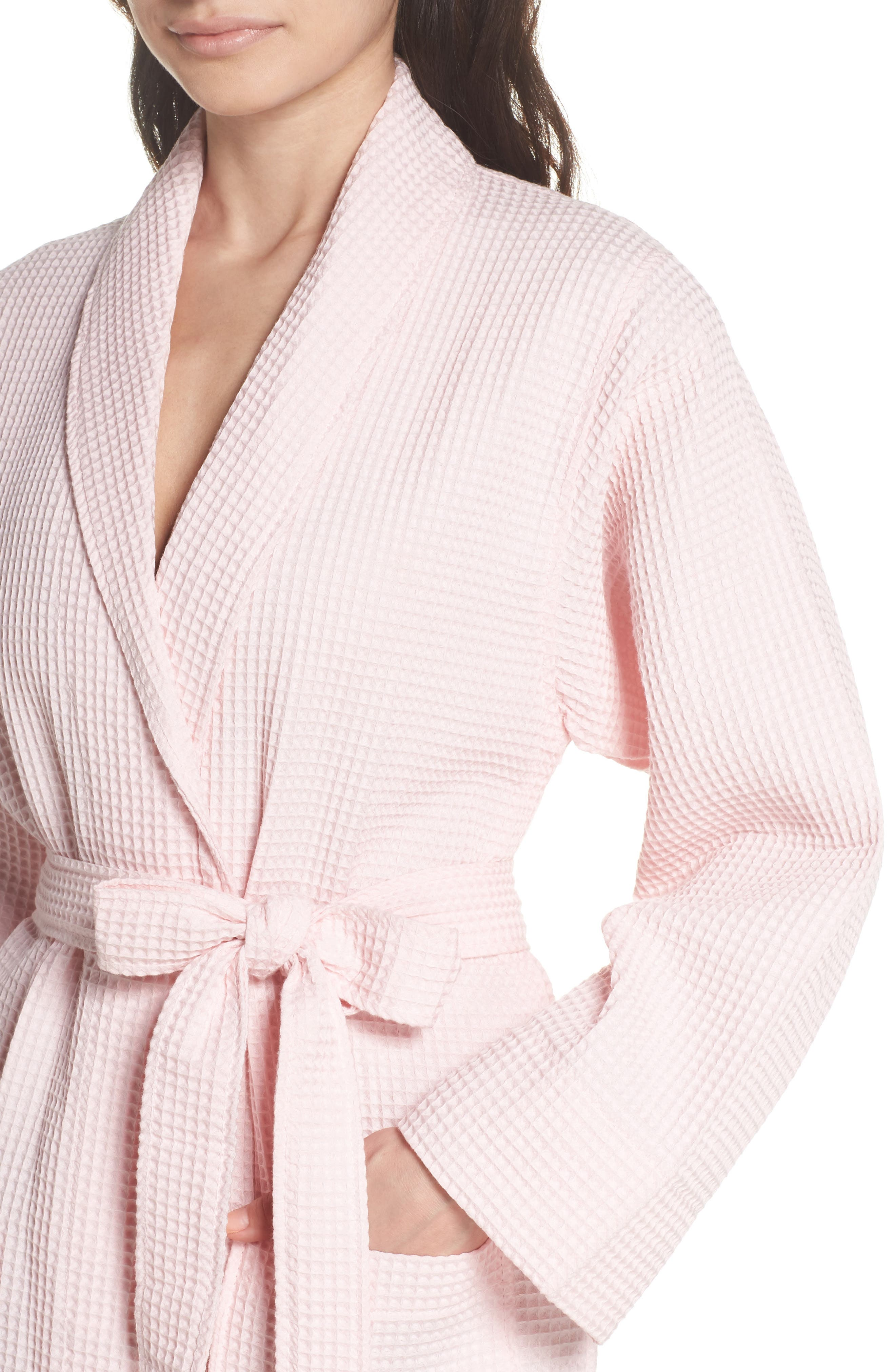 Waffle Knit Cotton Robe,                             Alternate thumbnail 5, color,                             Ice Pink